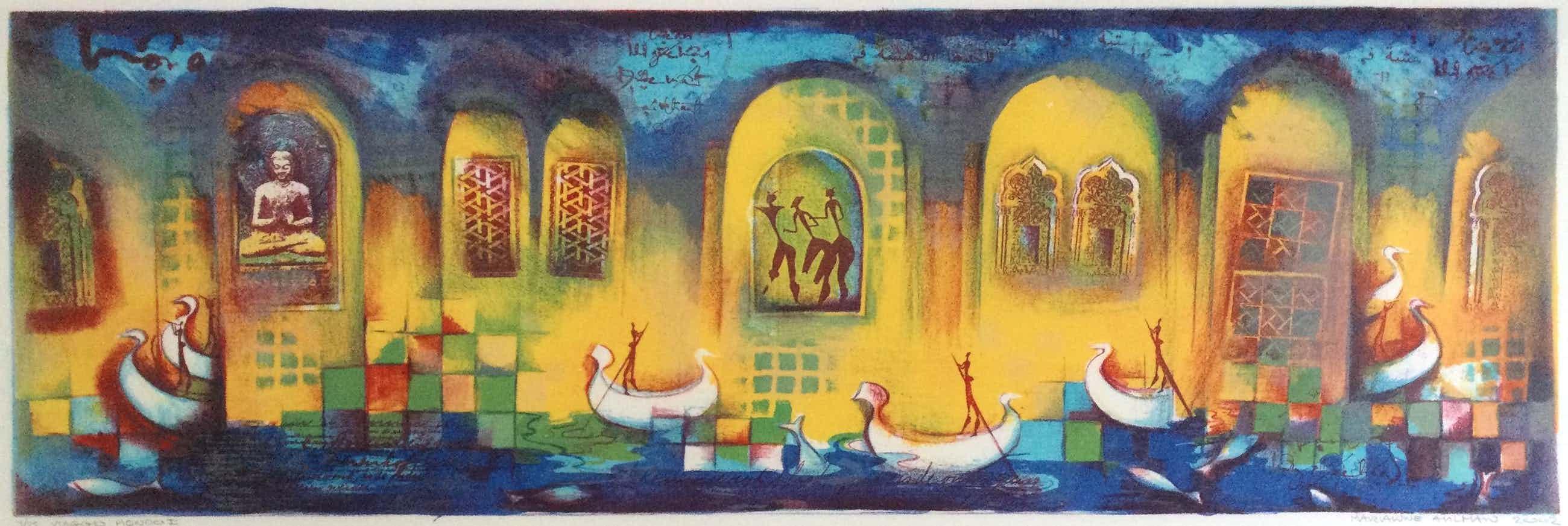 Marianne Aulman - Viaggio Mondo I   kleuren zeefdruk 4/25 - ingelijst kopen? Bied vanaf 60!