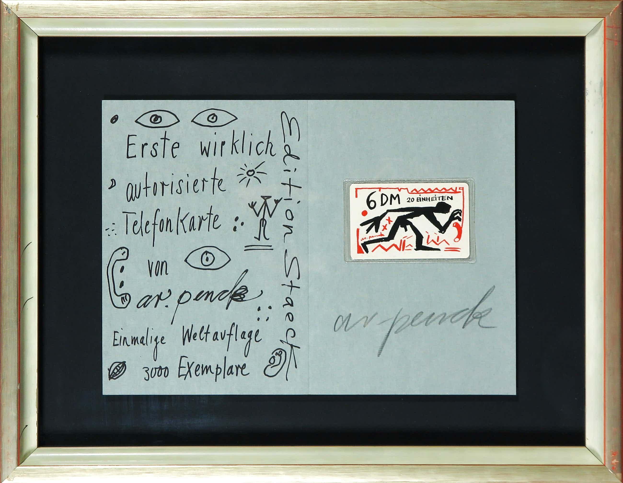 A.R. Penck - Gesigneerde zeefdruk met (ongeopende) telefoonkaart kopen? Bied vanaf 120!