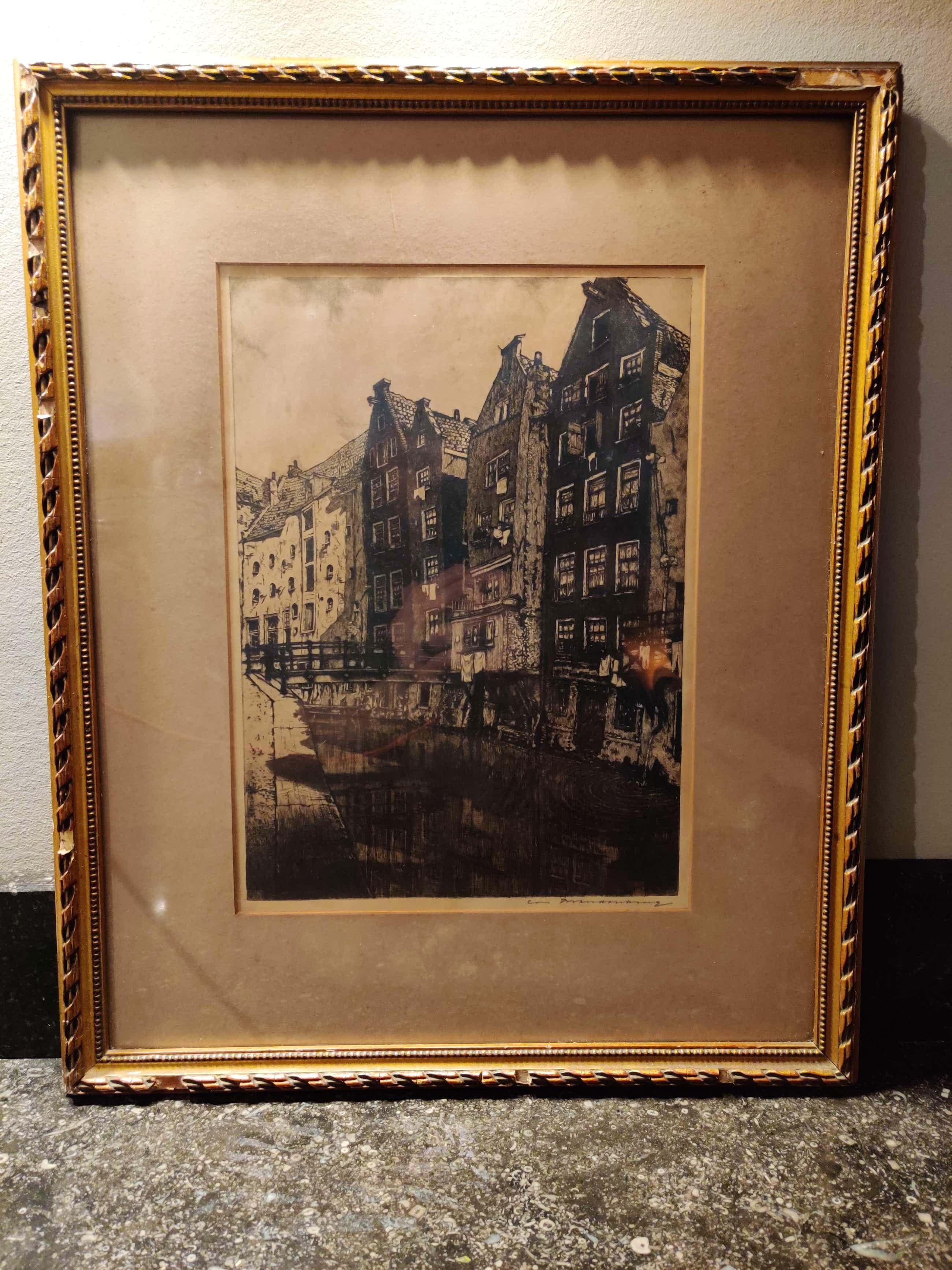 Cornelis Brandenburg - Cornelis Brandenburg - Ets, Oudezijds Achterburgwal, Amsterdam – gesigneerd en kopen? Bied vanaf 50!