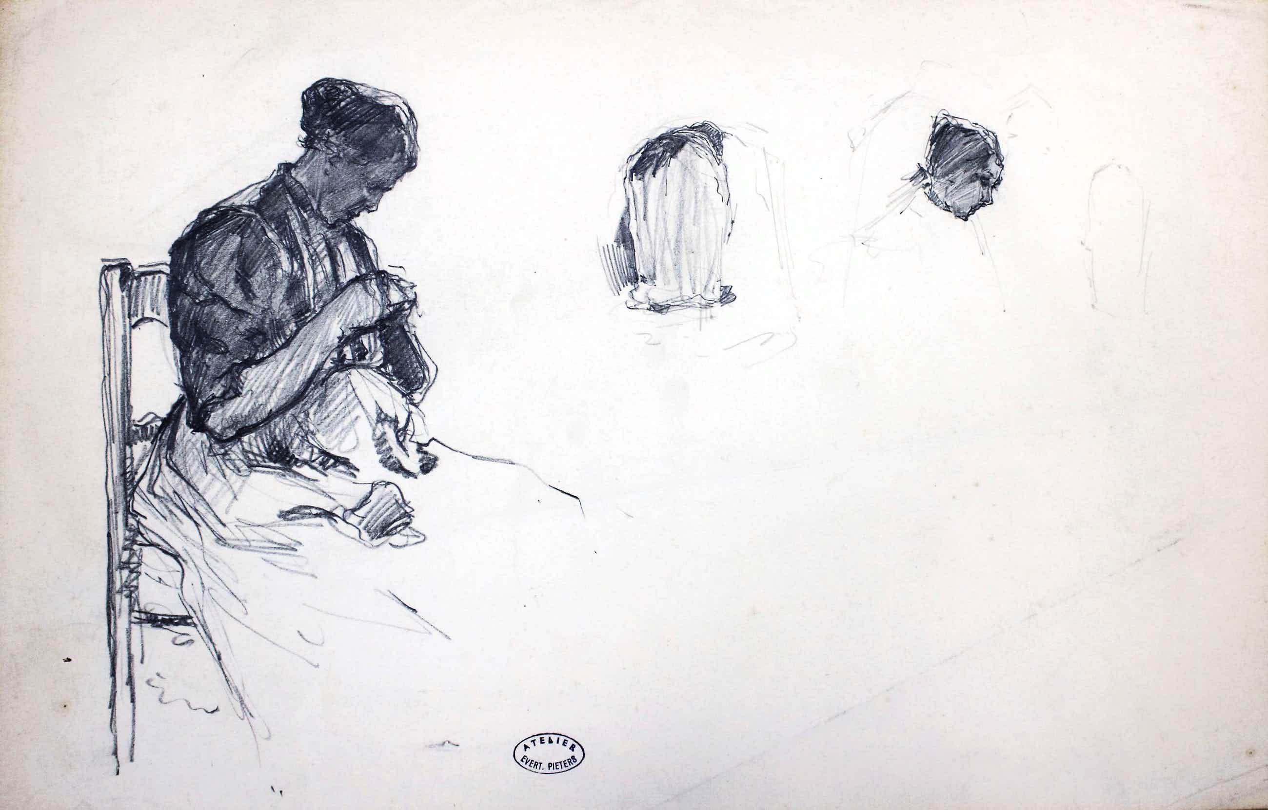 Evert Pieters - Studie (potloodtekening) van een vrouw met een handwerkje kopen? Bied vanaf 150!