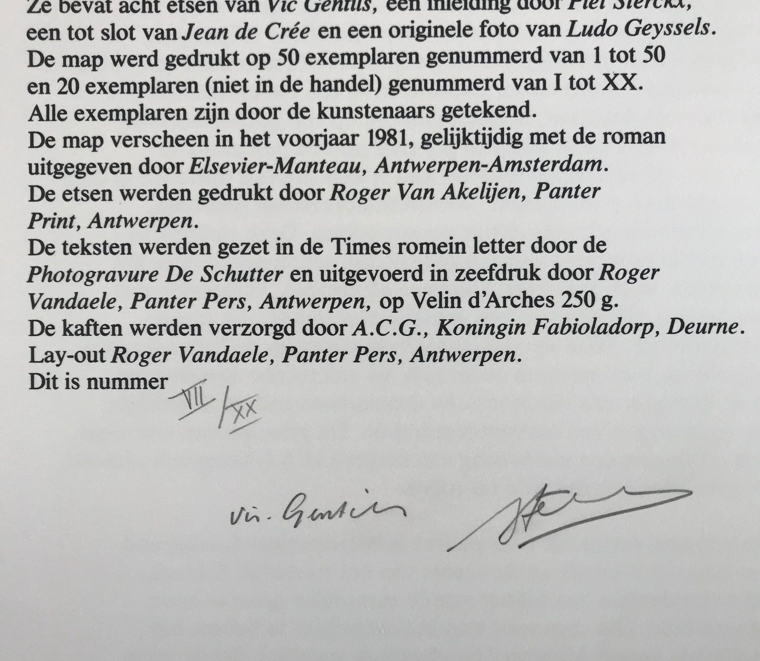Vic Gentils - Gesigneerde ets - 1981 - 'Het Café' - VII/XX kopen? Bied vanaf 35!