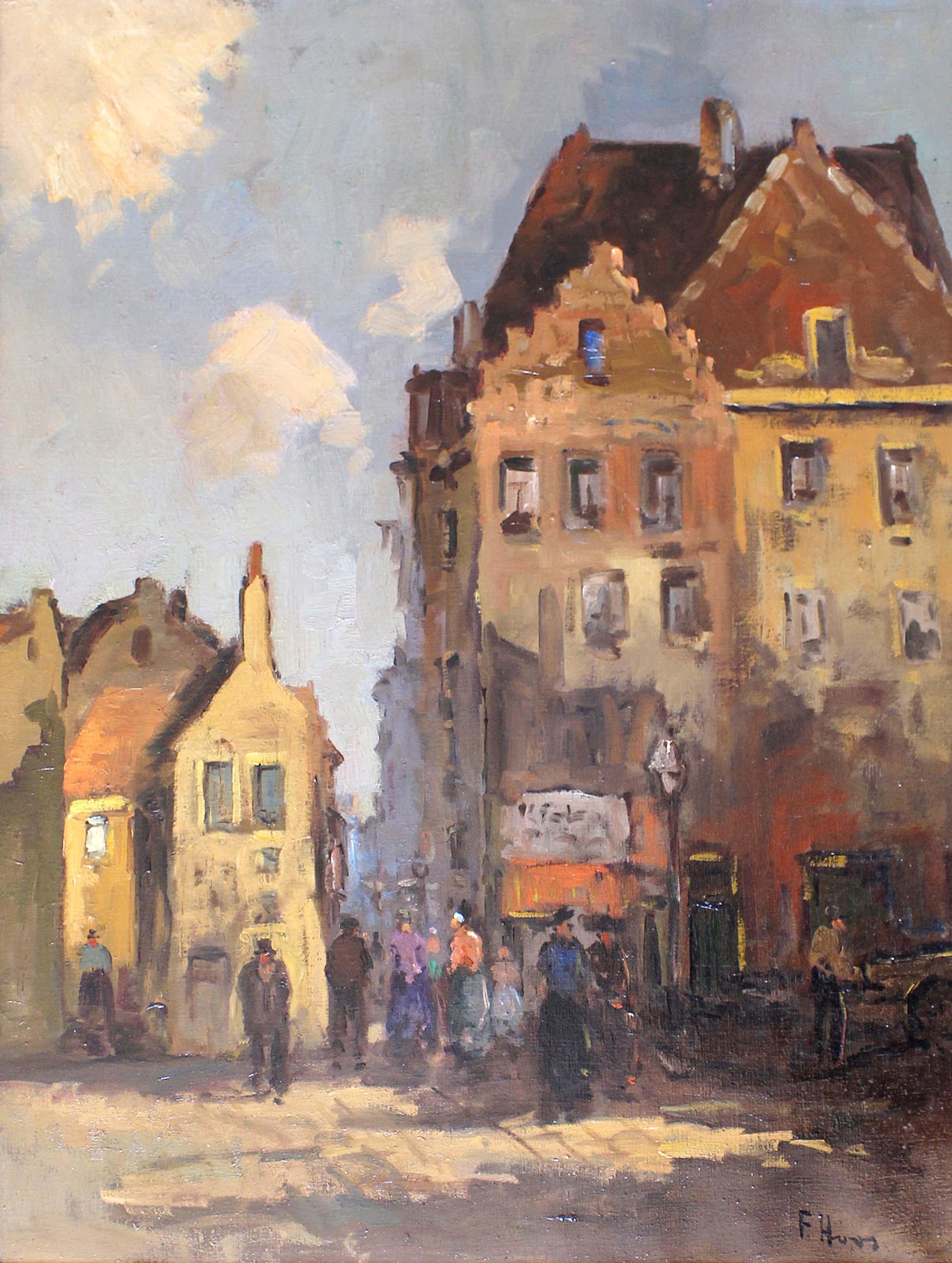 Frans Hoos - groot schilderij - 'Stadsgezicht' - IN PRIJS VERLAAGD! kopen? Bied vanaf 220!
