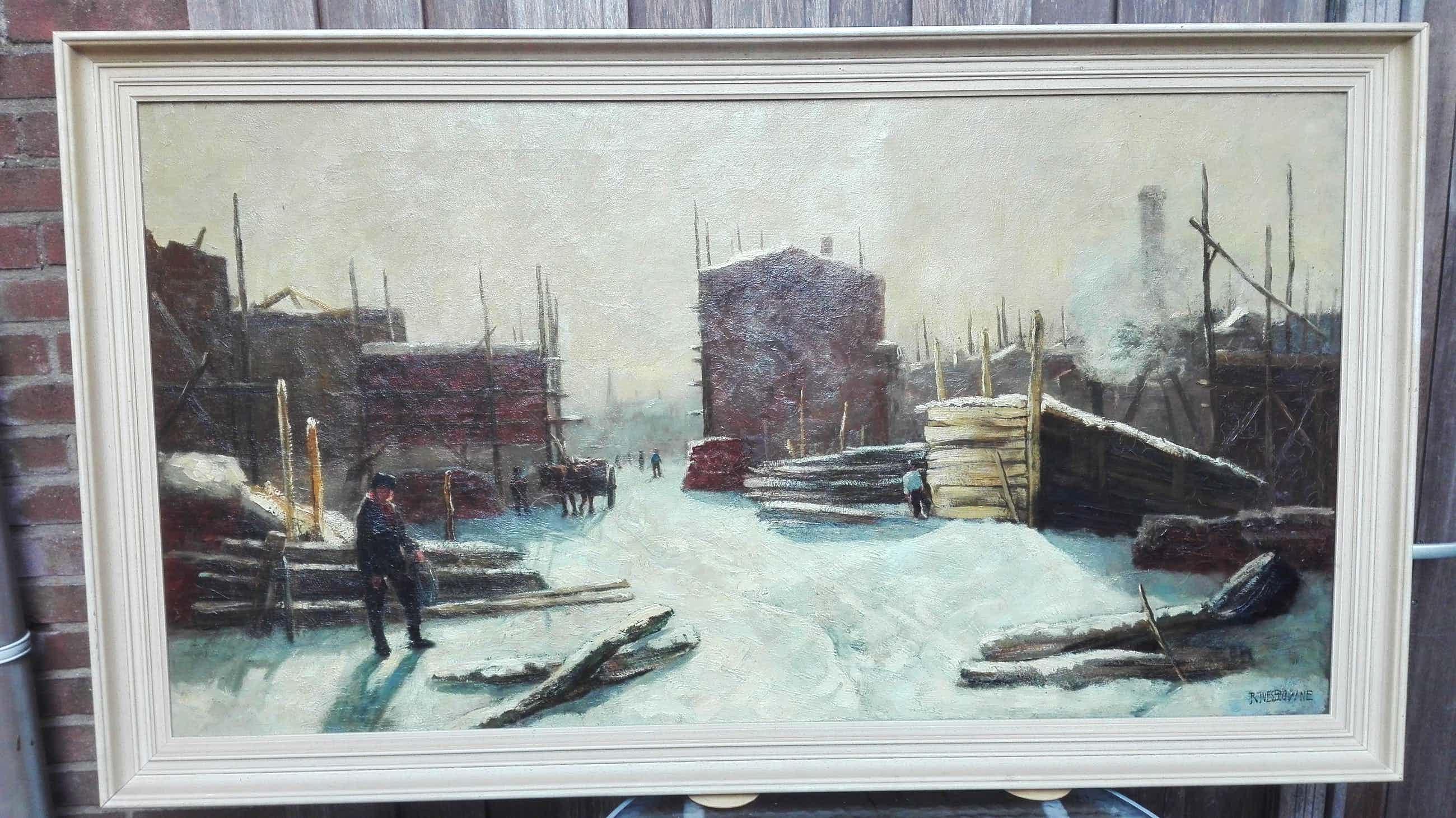 Robert Ives Browne - Bouwplaats in de Winter kopen? Bied vanaf 600!