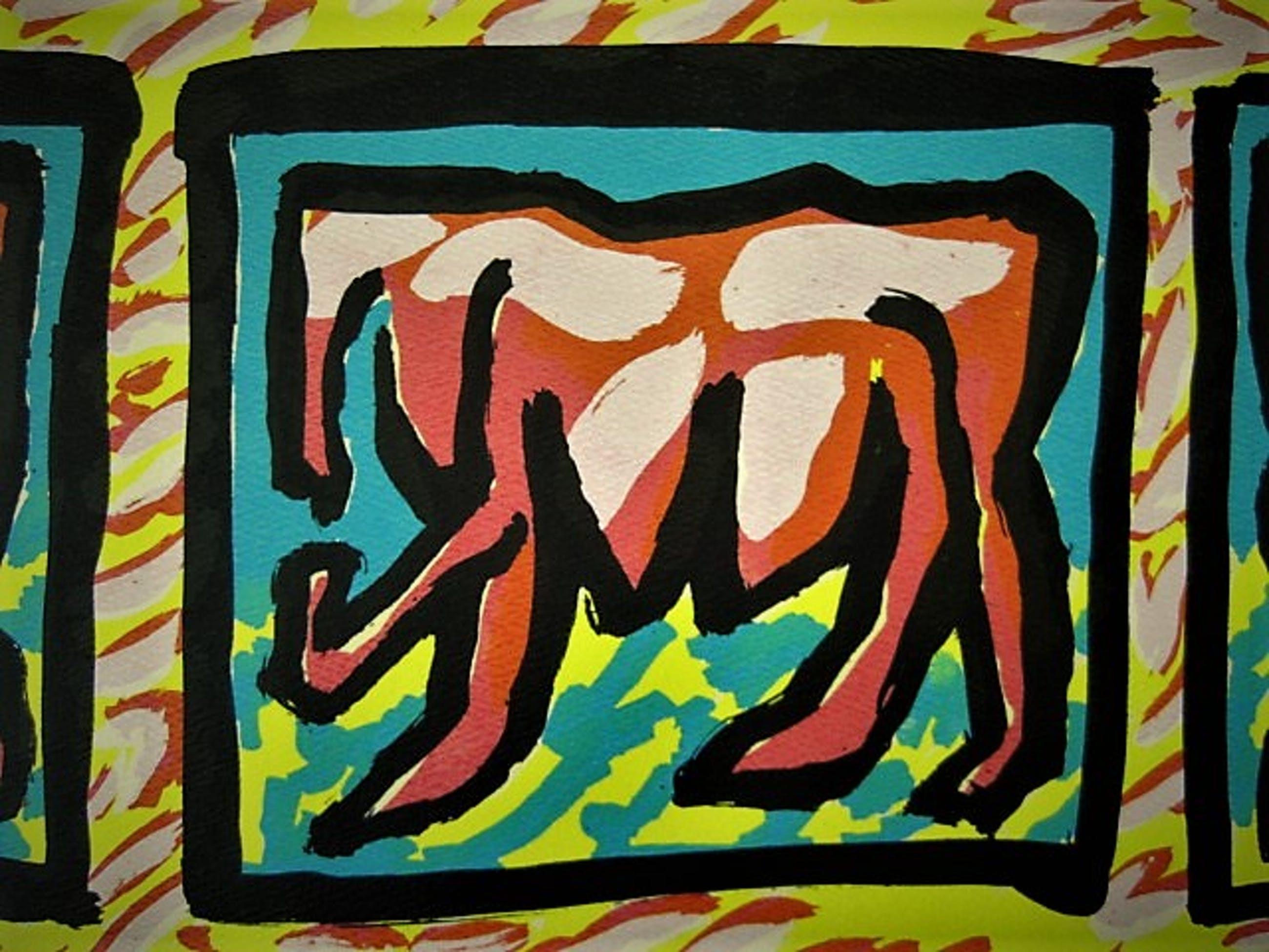 Niet of onleesbaar gesigneerd - Grote gesigneerde abstracte zeefdruk 1985 kopen? Bied vanaf 10!