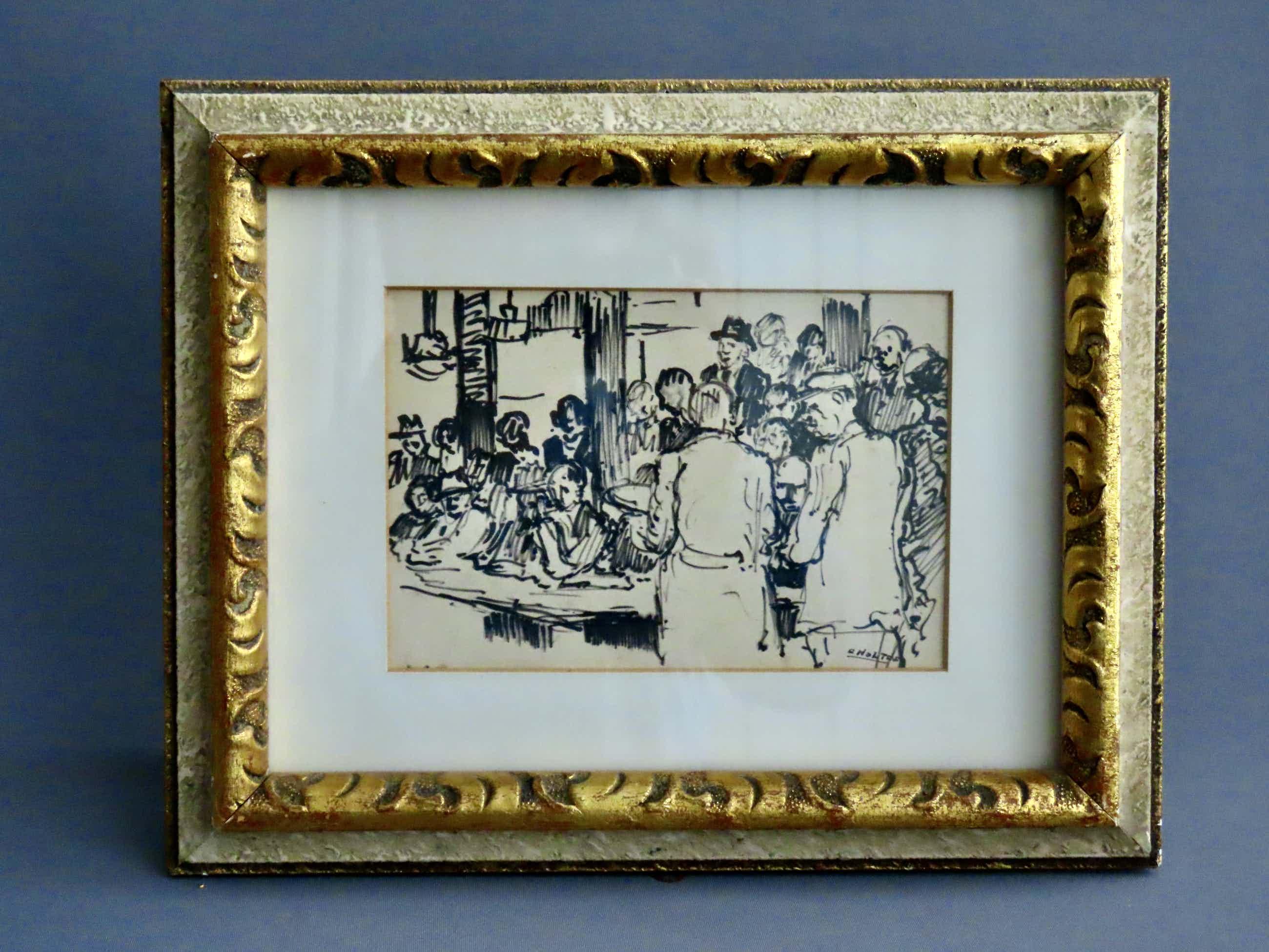 Cor Noltee - (1903-1967) - Kijkdag bij veilighuis Mak van Waay te Dordrecht - inkt tekening kopen? Bied vanaf 150!