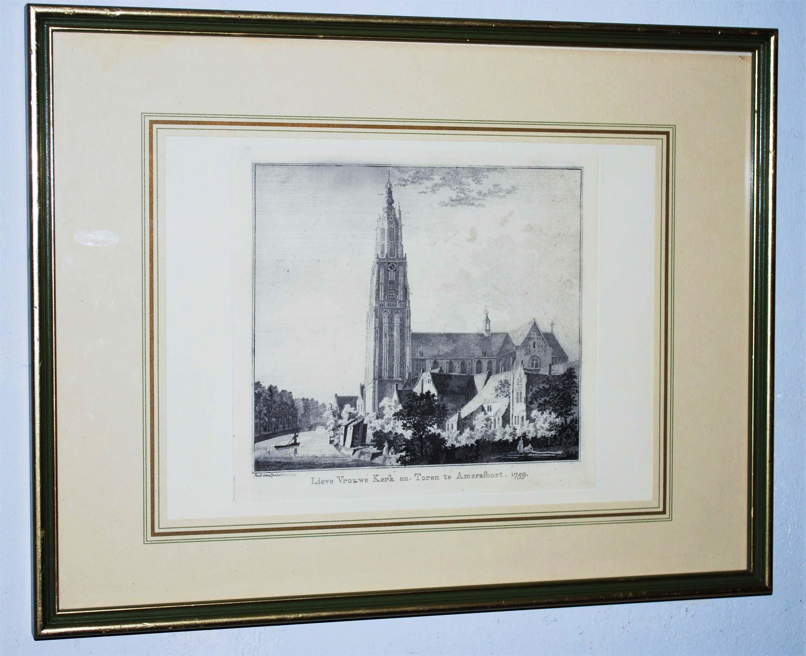 Paulus van Liender - Amersfoort - Lieve Vrouwe Kerk en Toren - ets - 1759 kopen? Bied vanaf 65!