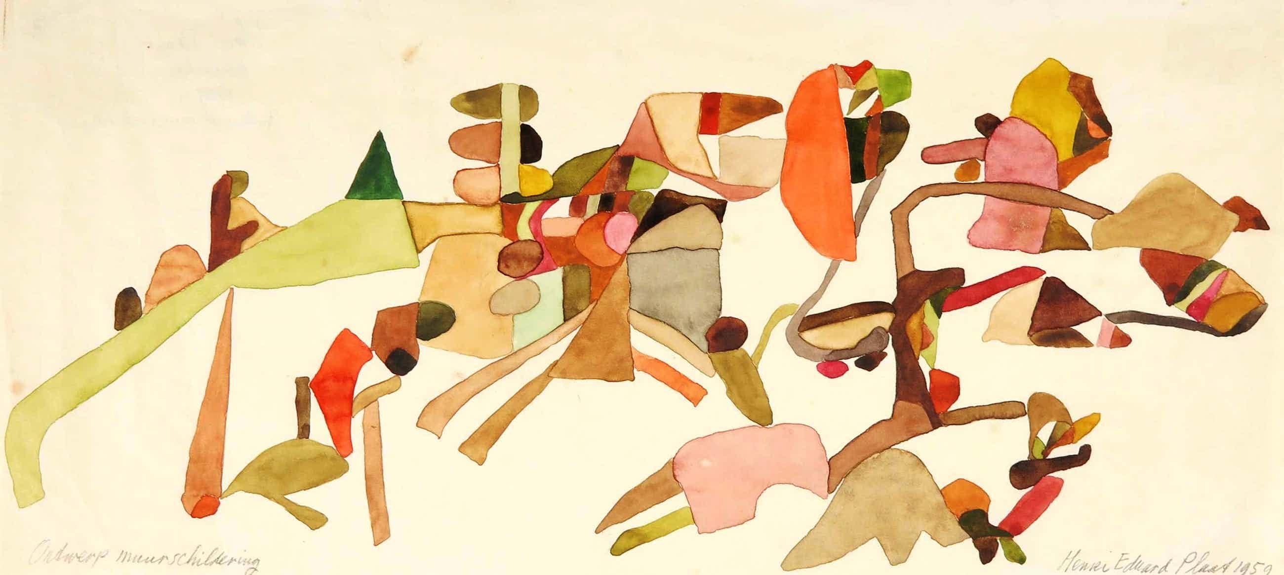 Henri Plaat - Gouache, Ontwerp muurschildering kopen? Bied vanaf 60!