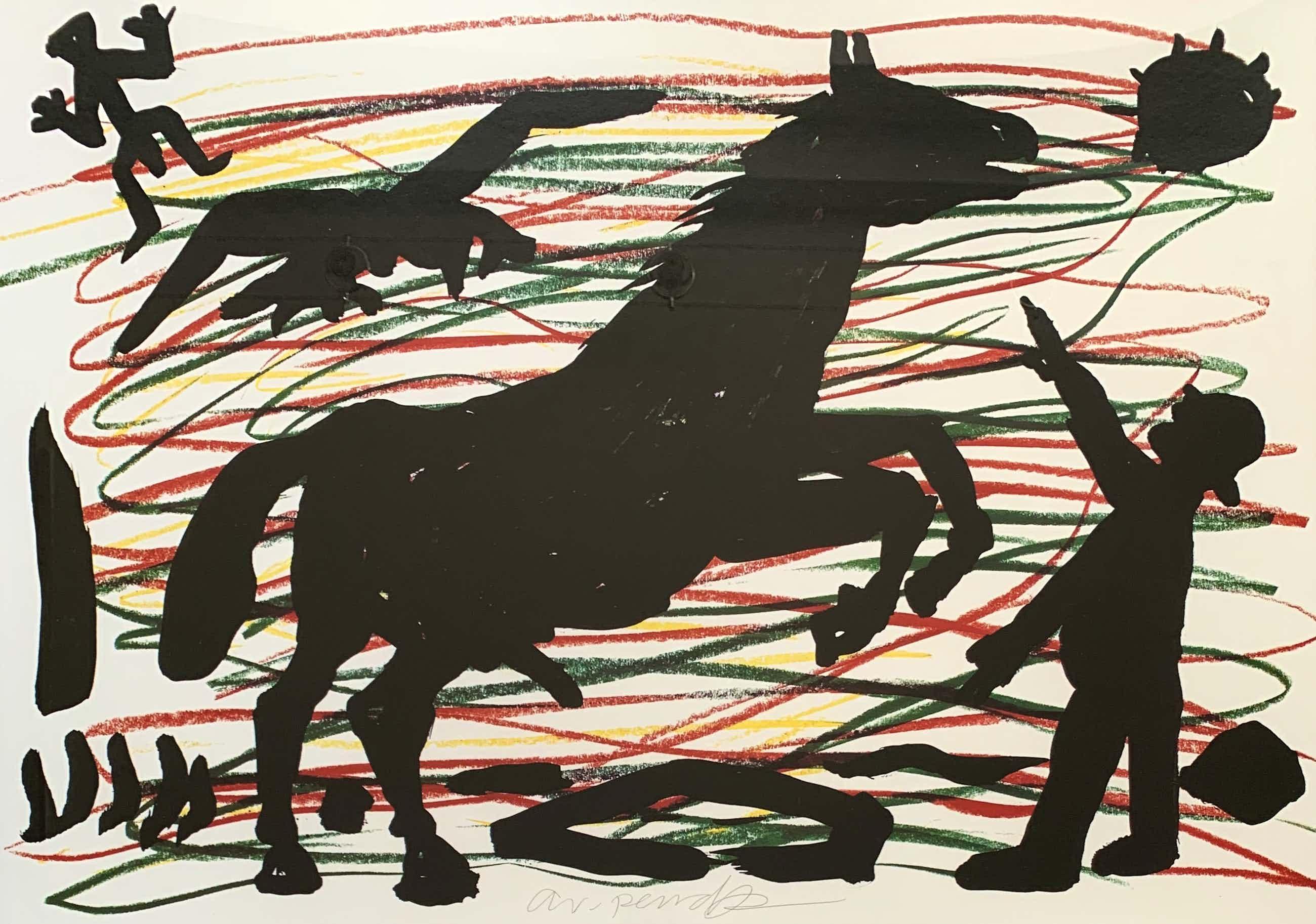 A.R. Penck - Kleurenlitho | 'Pferd' | 1991 (Ingelijst) kopen? Bied vanaf 700!