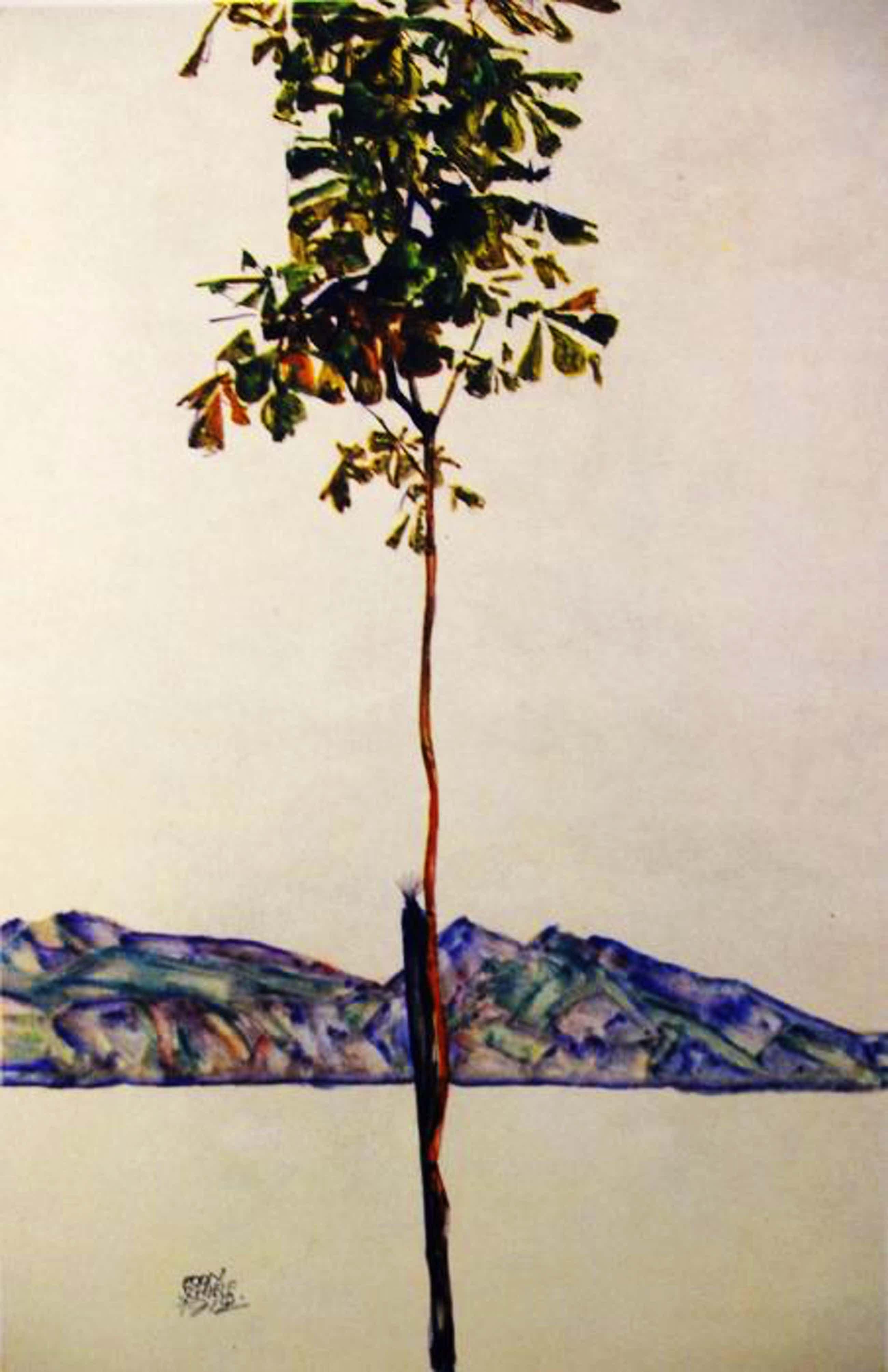 """Egon Schiele - """"Kastanienbaum am Bodensee 1912"""" Ausgabe 1948 kopen? Bied vanaf 85!"""