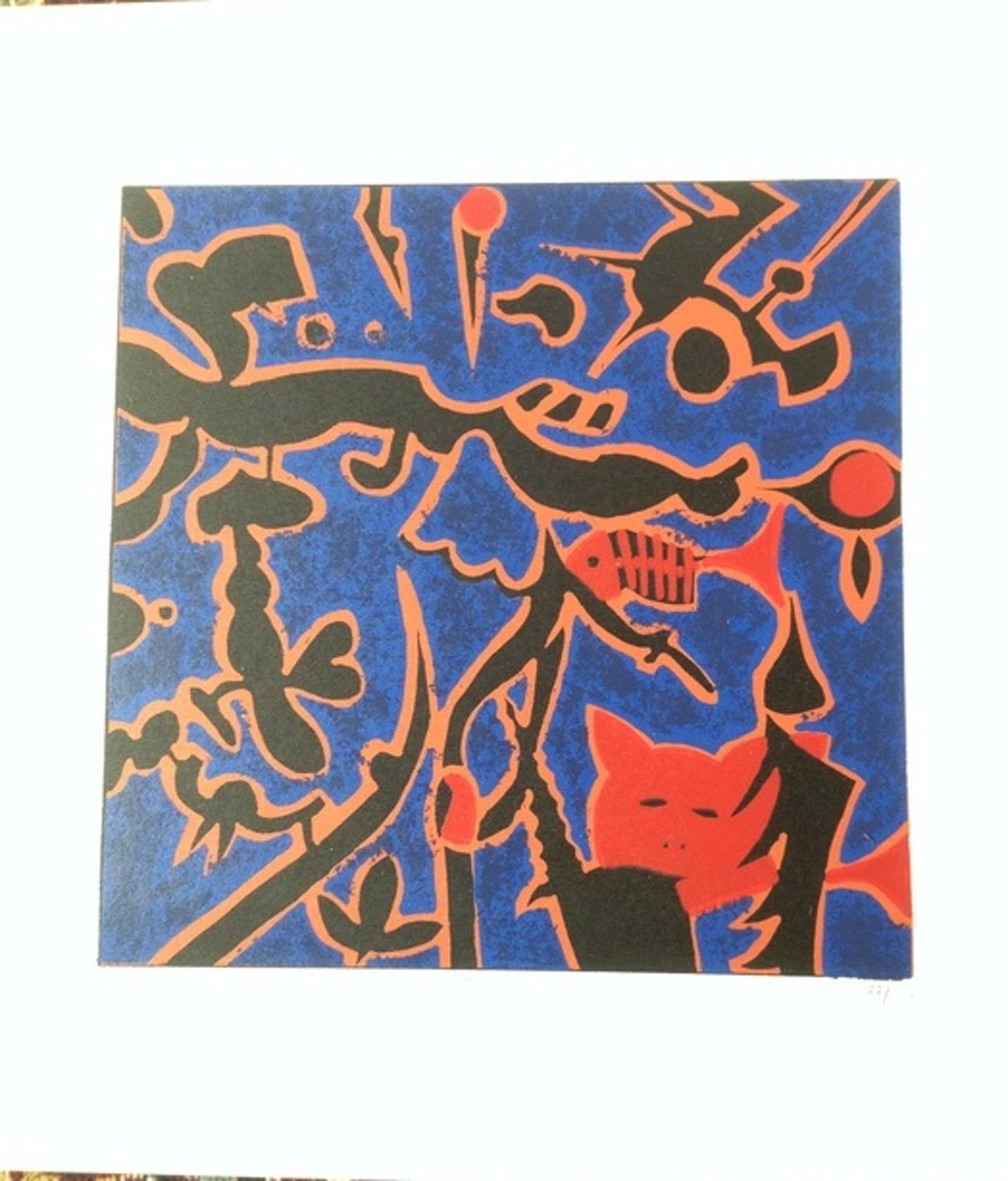 Calvin Christiaan - Cat and Fish - kleurenzeefdruk - handgesigneerd - 77/100 kopen? Bied vanaf 75!