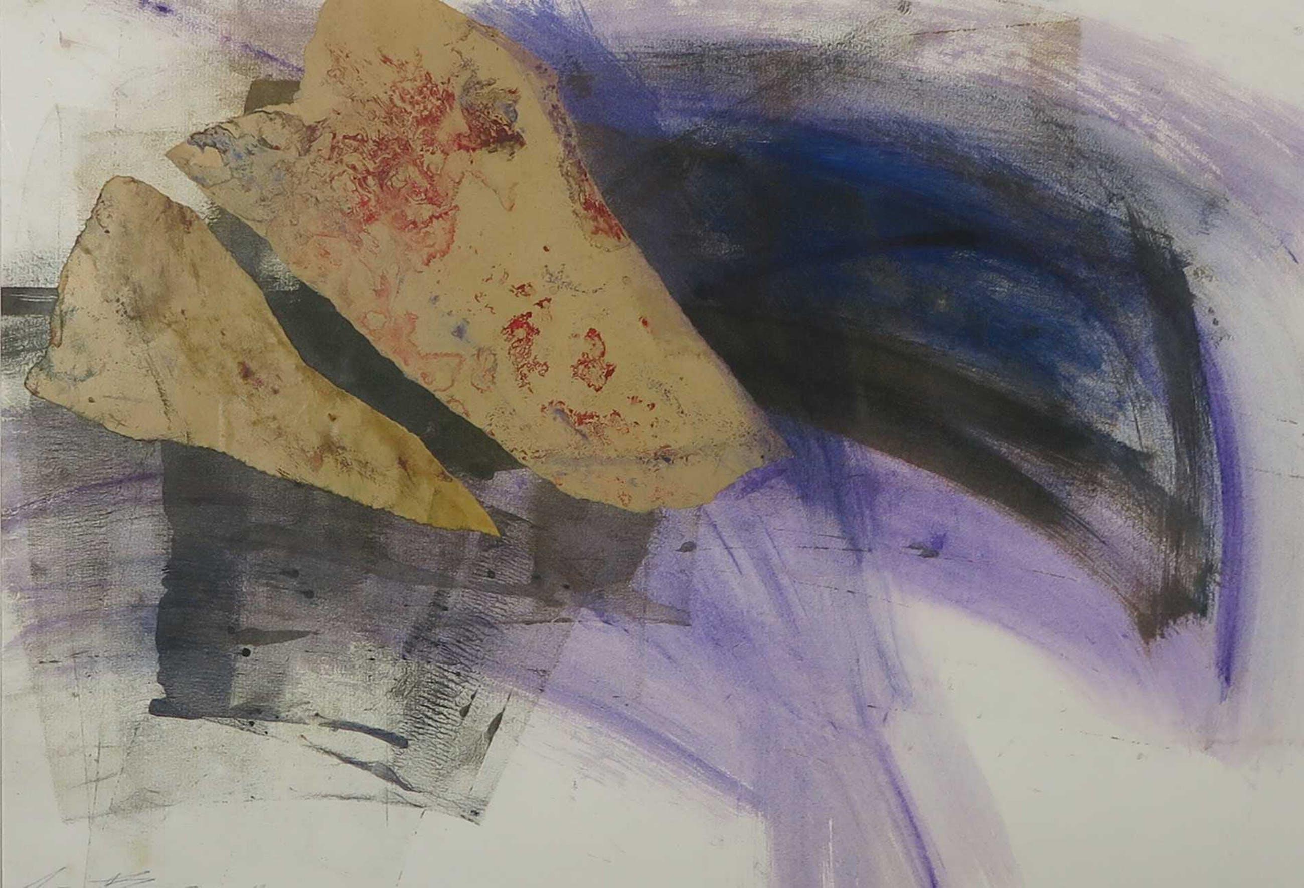 Wim de Bruin - Gemengde techniek op papier, Abstracte compositie - Ingelijst kopen? Bied vanaf 1!