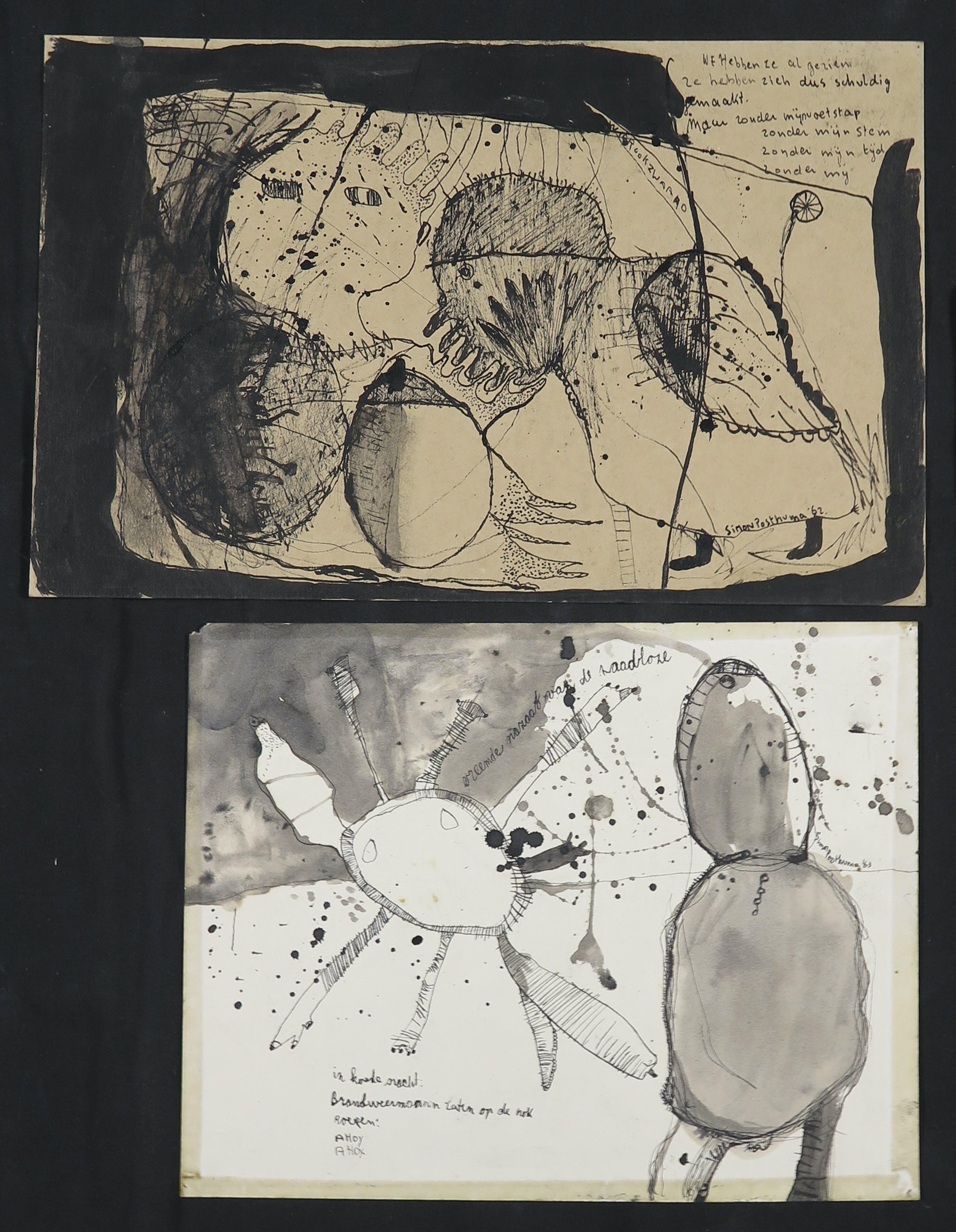 Simon Posthuma - Inkt op papier, Lot van vier tekeningen kopen? Bied vanaf 1!