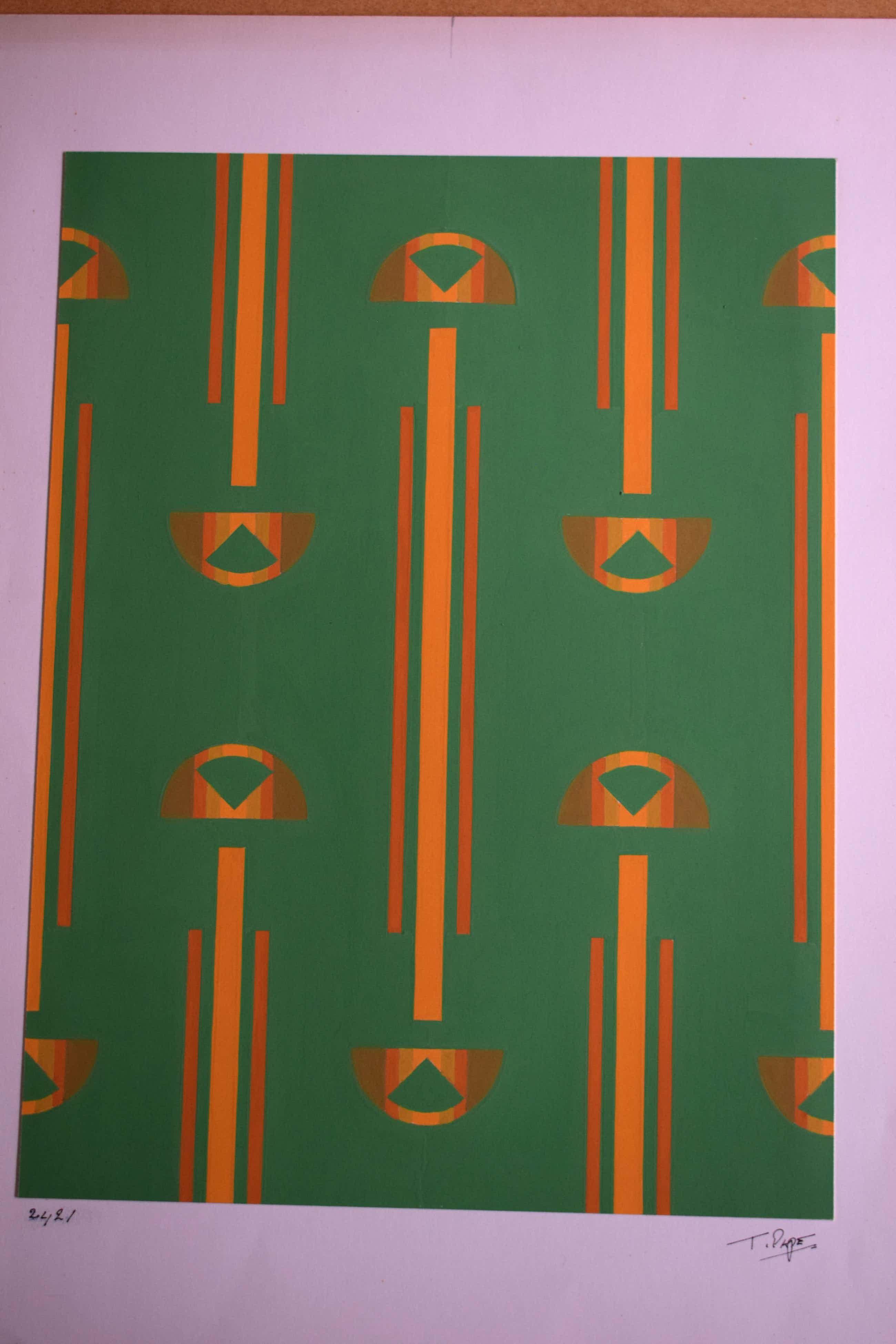 Ton Pape - Gouache - Geometrisch Abstract nr 2412 kopen? Bied vanaf 40!