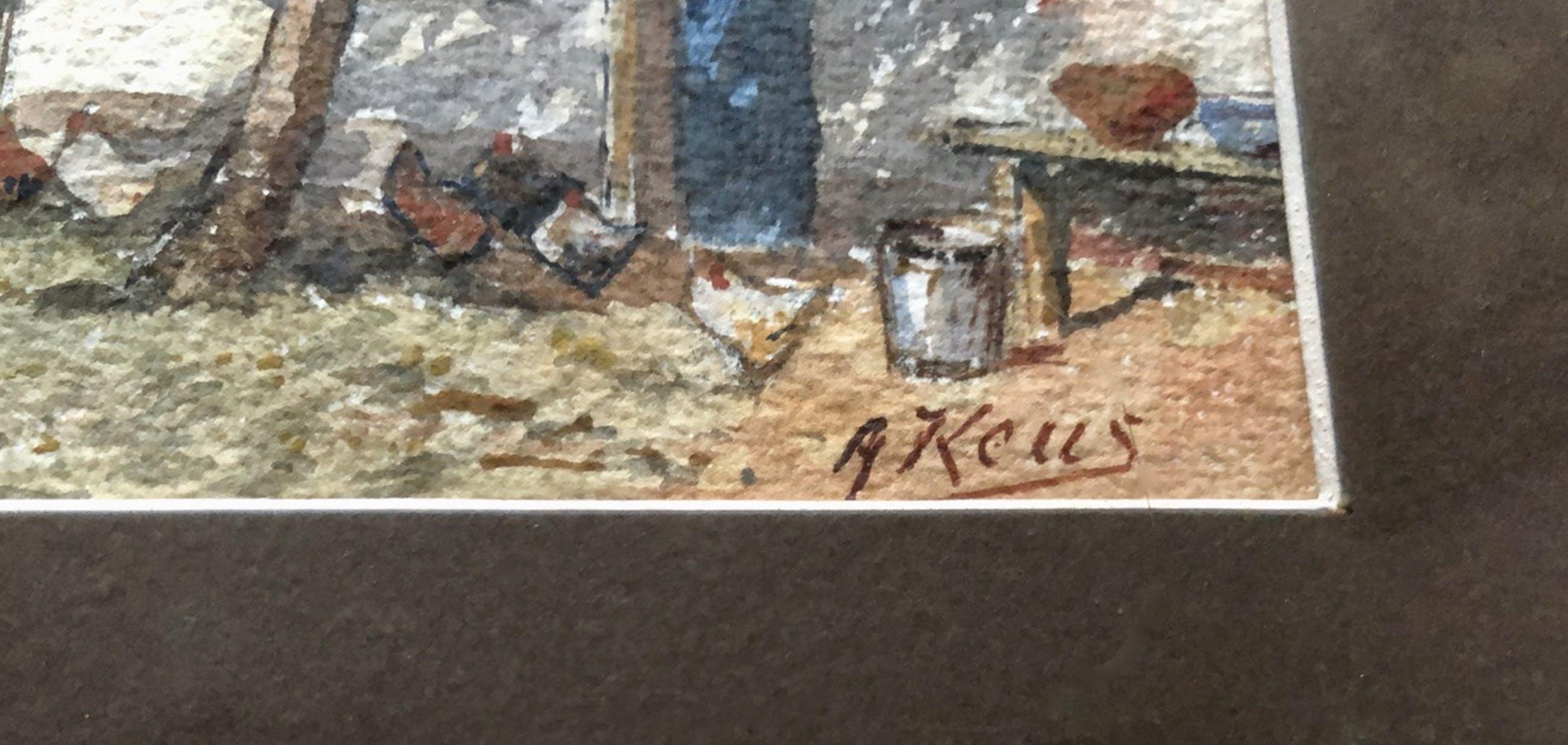 Adriaan Keus - Prachtige gesigneerde aquarel in de originele oude lijst. kopen? Bied vanaf 25!