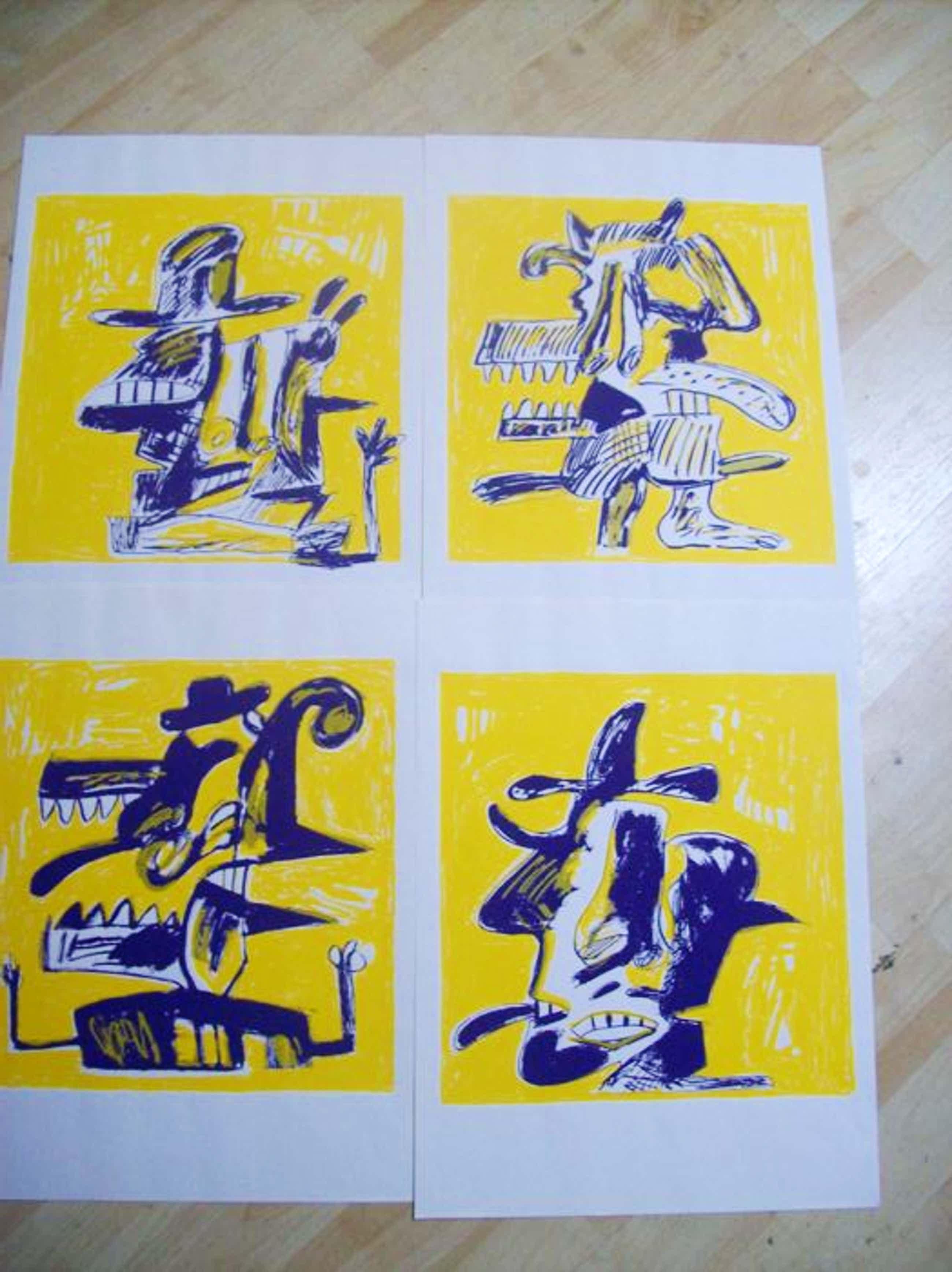 Anton Martineau - map met 4 zeefdrukken in oplage van 100 in opdracht gedrukt kopen? Bied vanaf 70!
