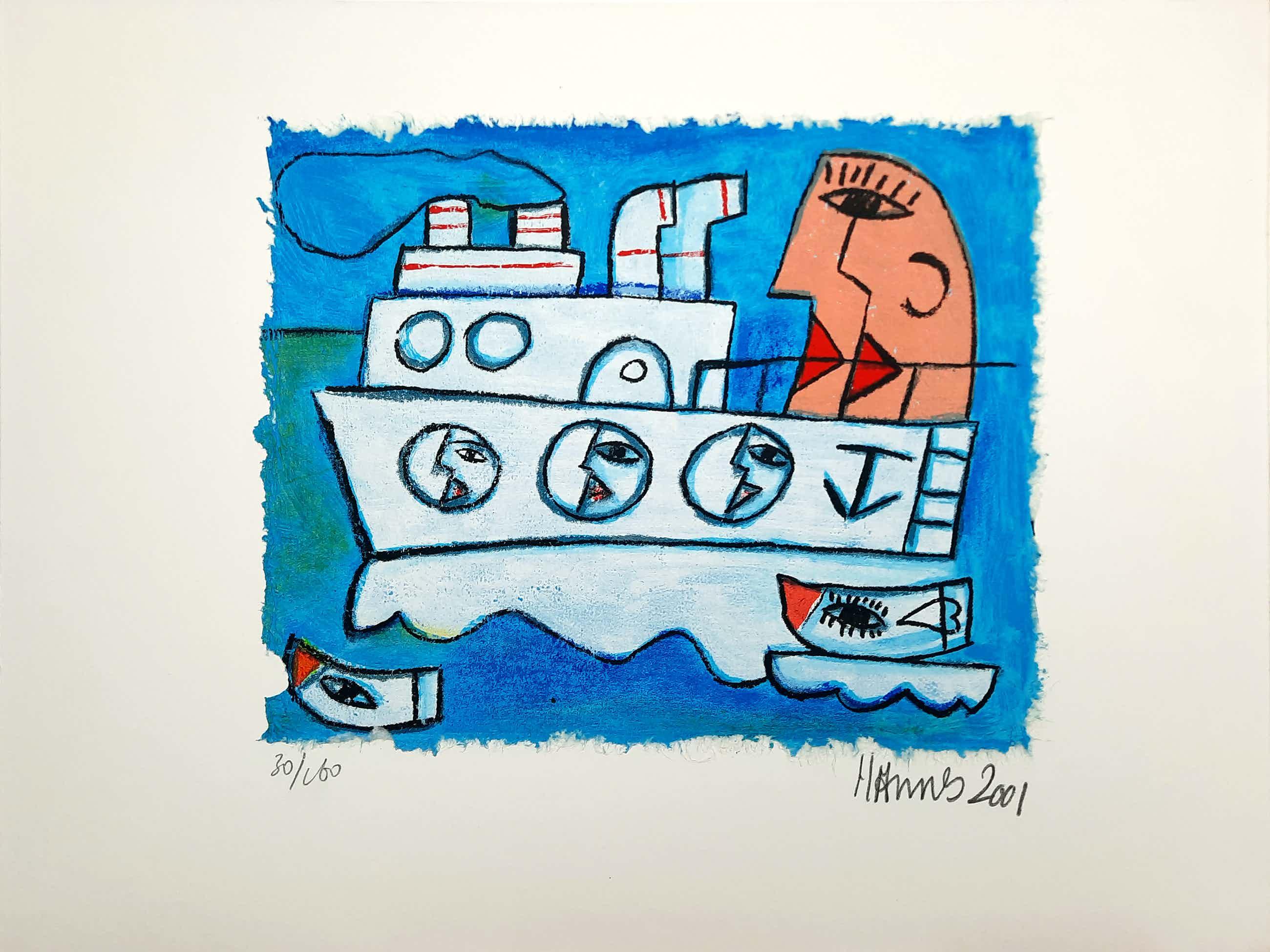 Hannes Kuiper - Zonder titel - vrolijke en kleurrijke zeefdruk 30/160 - 21965 kopen? Bied vanaf 45!