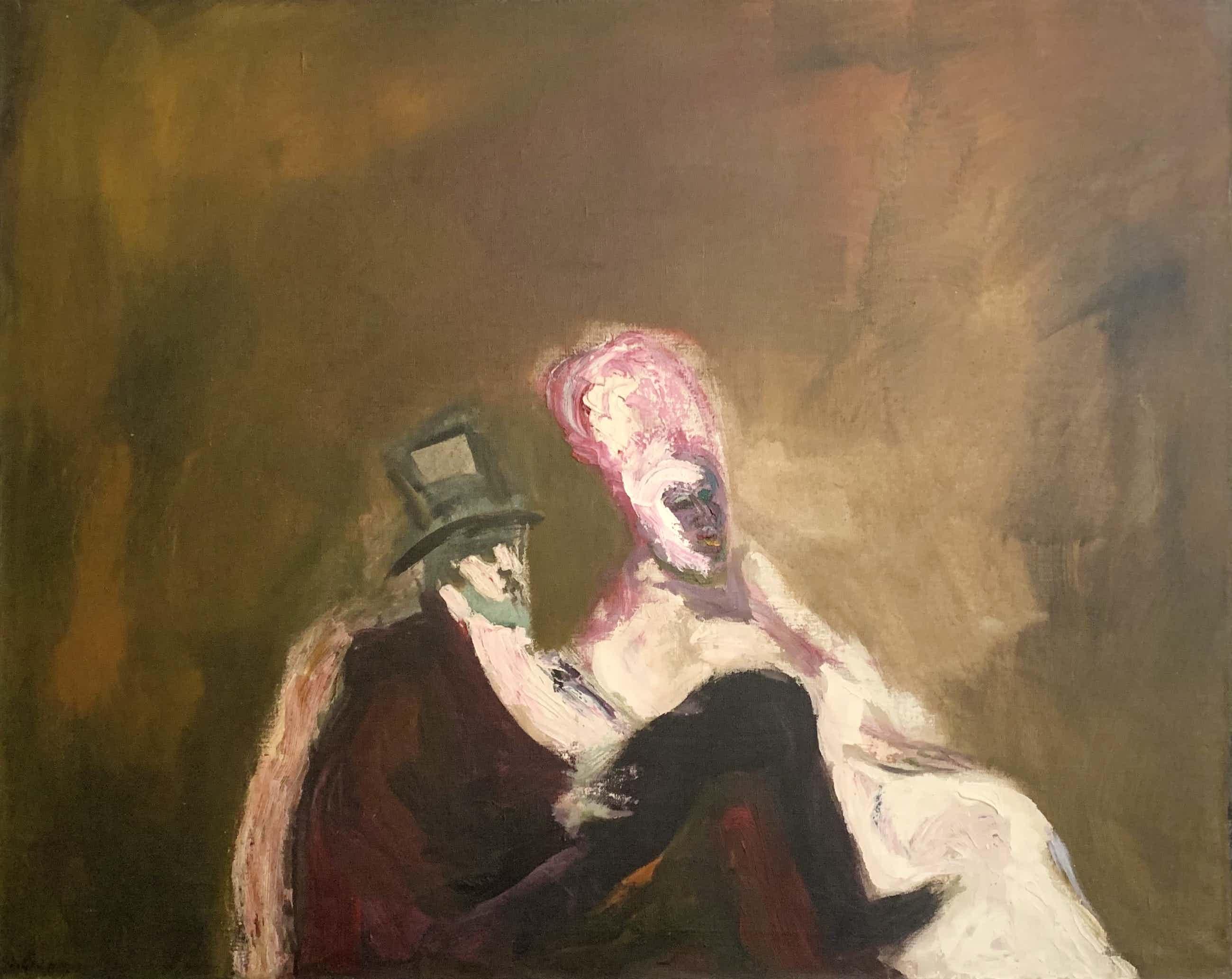 Luis Filcer - Acrylverf op doek | 'Public (in the theatre)' | Groot werk in Krutzmann lijst kopen? Bied vanaf 950!