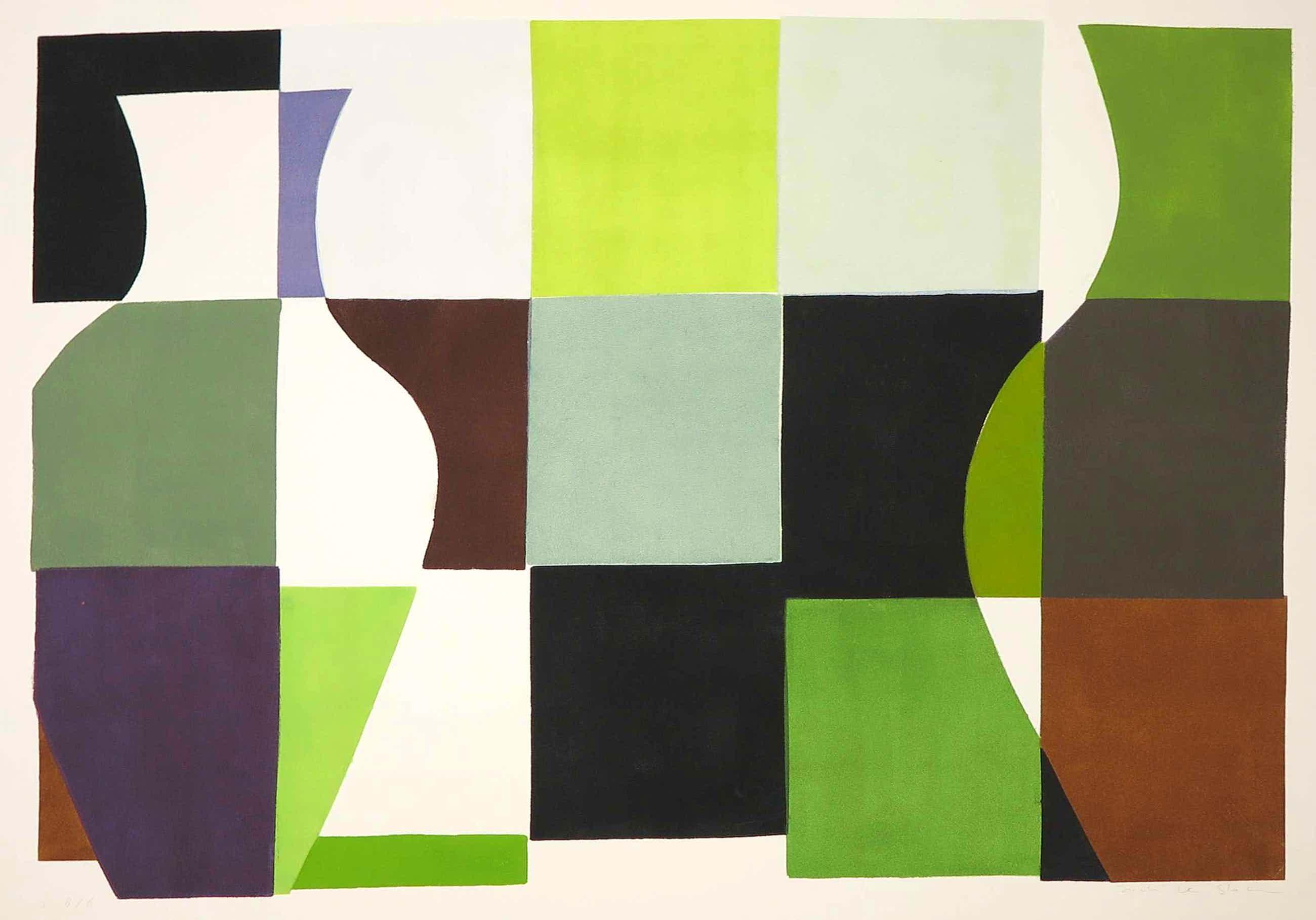 Judith Stolker - Sjabloondruk, Abstracte compositie met kleurvlakken - Ingelijst kopen? Bied vanaf 35!