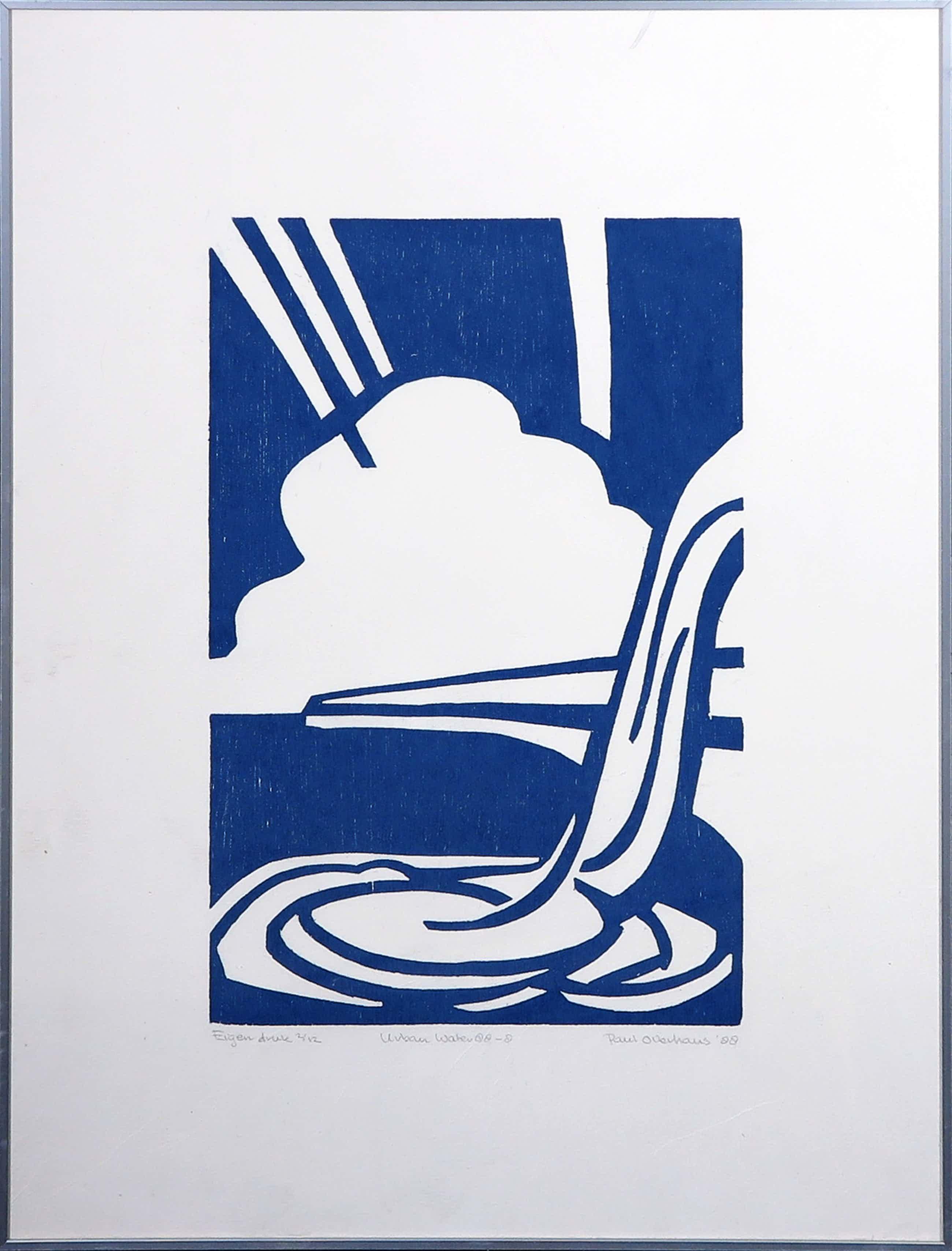 Paul Overhaus - Houtsnede, Urban water 8 - Ingelijst kopen? Bied vanaf 46!