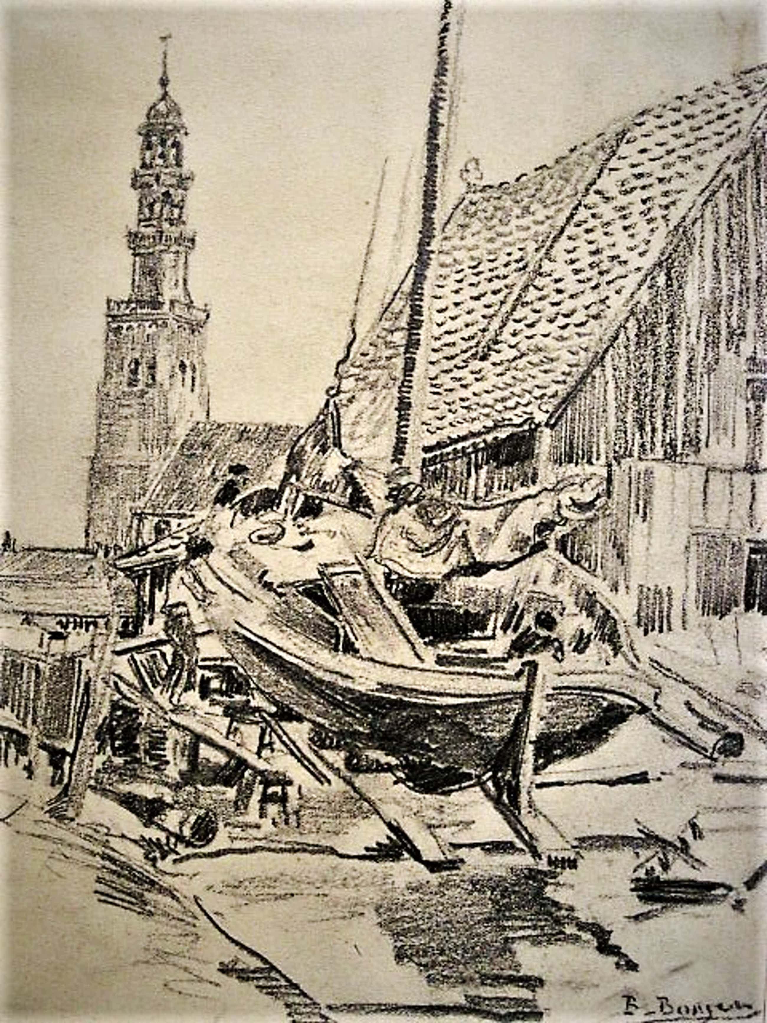 Berend Adrianus Bongers - potloodtekening omstreeks 1920 - haven van Hindelopen - gesigneerd kopen? Bied vanaf 20!