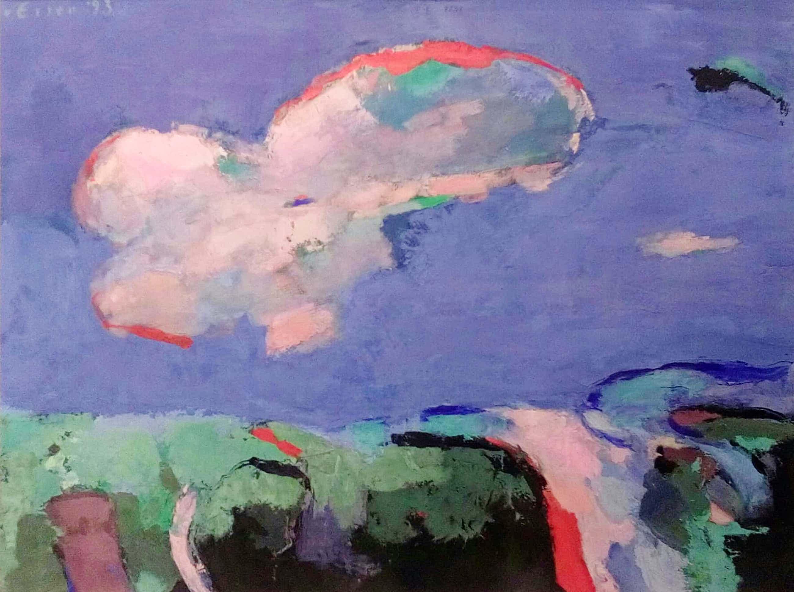 Rob van Essen - tempera schilderij - Wolk boven polder - Ingelijst kopen? Bied vanaf 40!