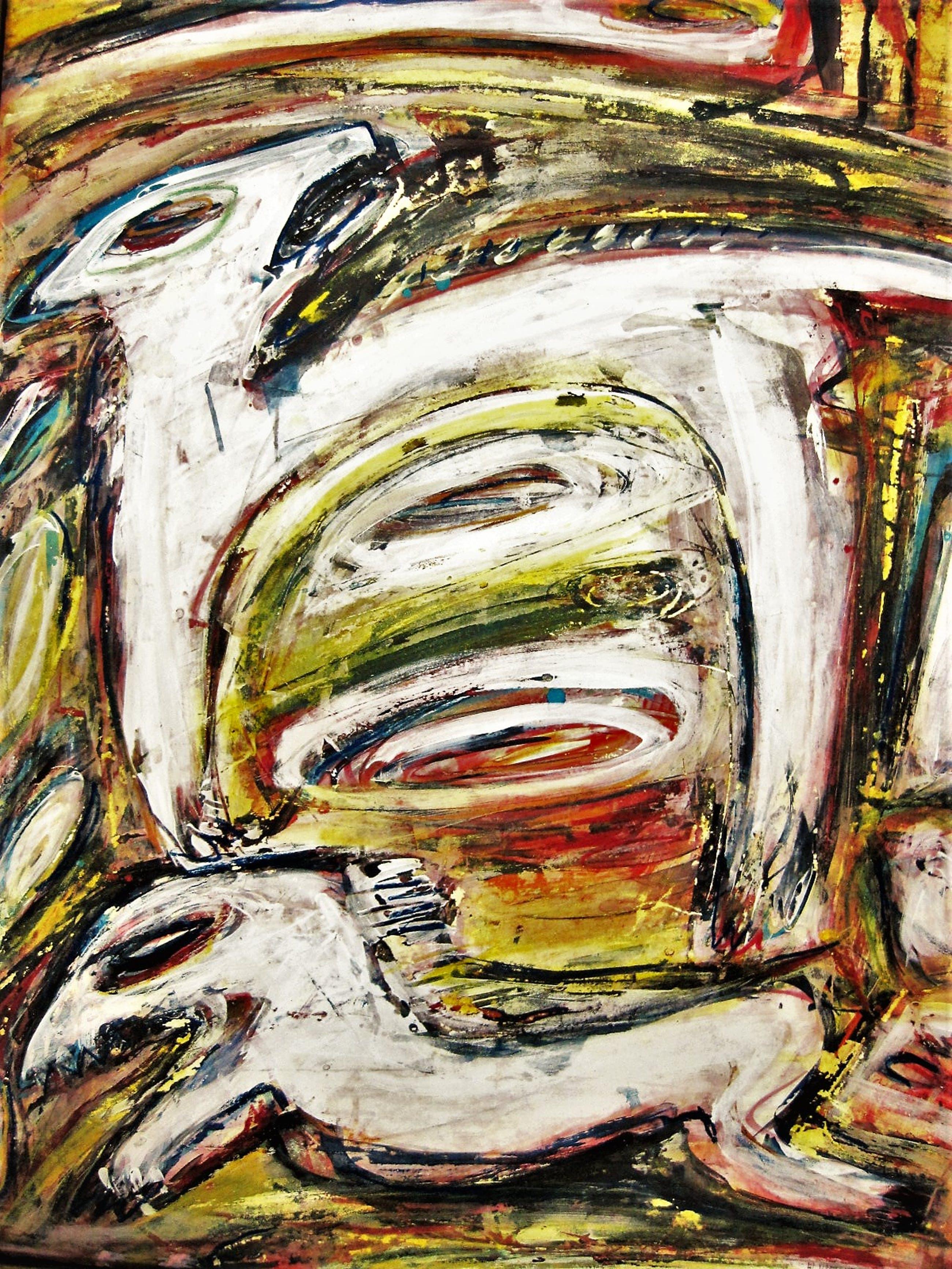 """Henk Vierveijzer - CoBrA en Neue Wilden - Krachtig expressionisme - """"Happen naar de Baas"""" GROOT!! kopen? Bied vanaf 150!"""