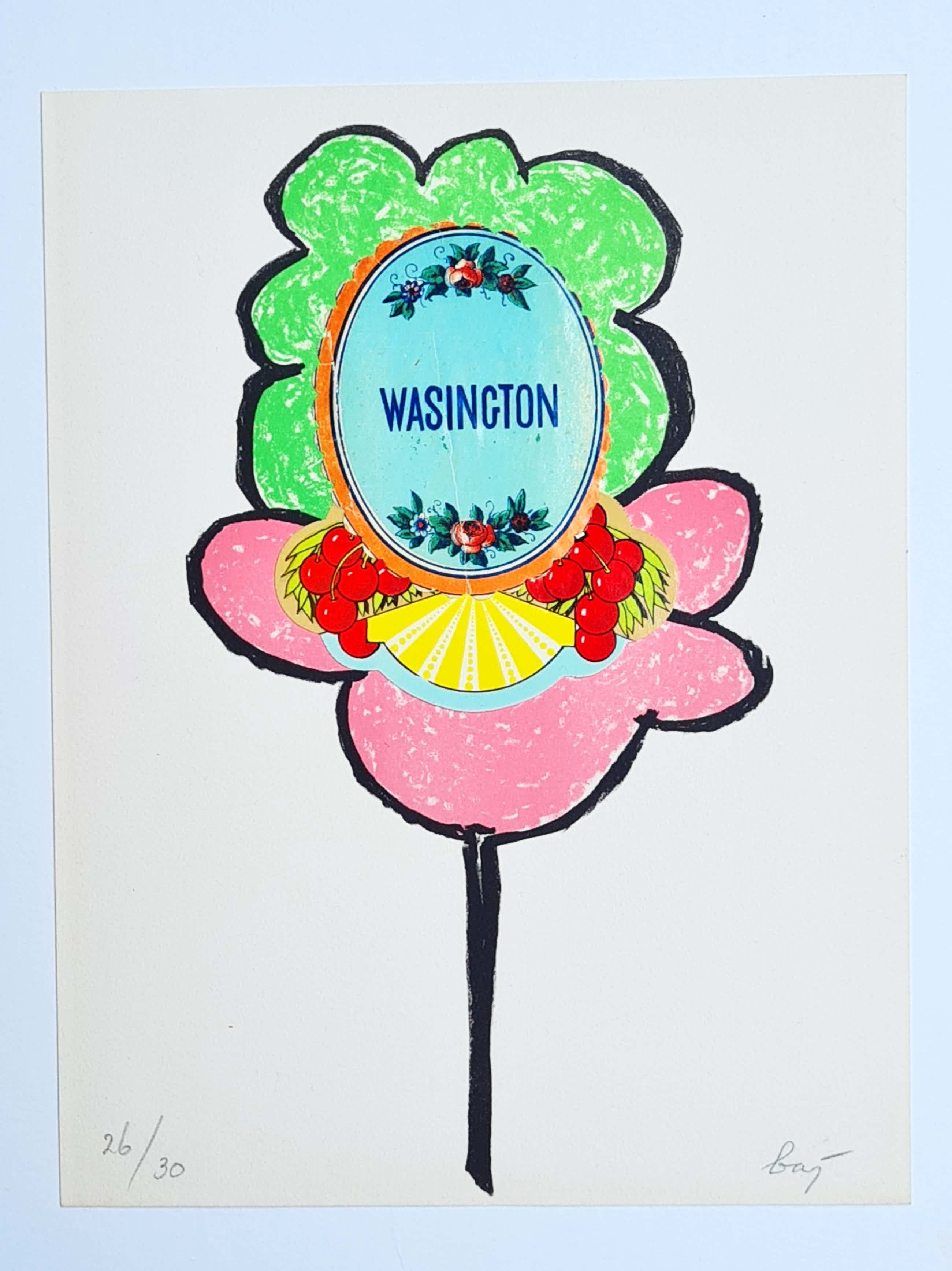 Enrico Baj - Collage met litho: Wasington kopen? Bied vanaf 110!