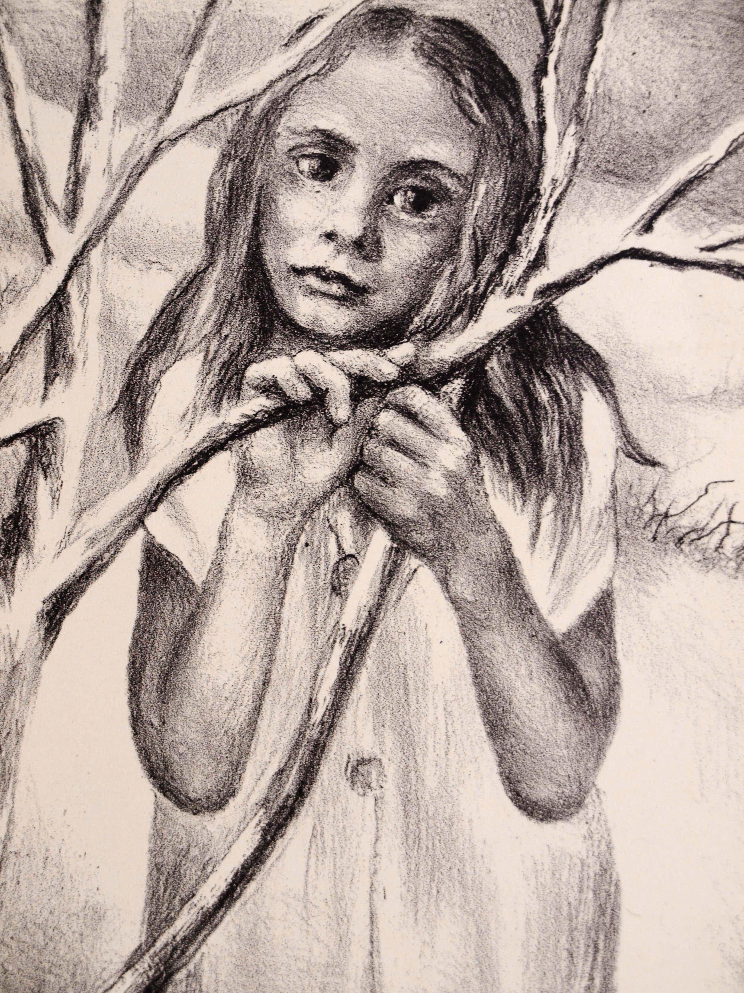 Aart van Dobbenburgh - Ingelijste litho , Meisje – 1979 – nr. 1 van 150 ex. kopen? Bied vanaf 35!