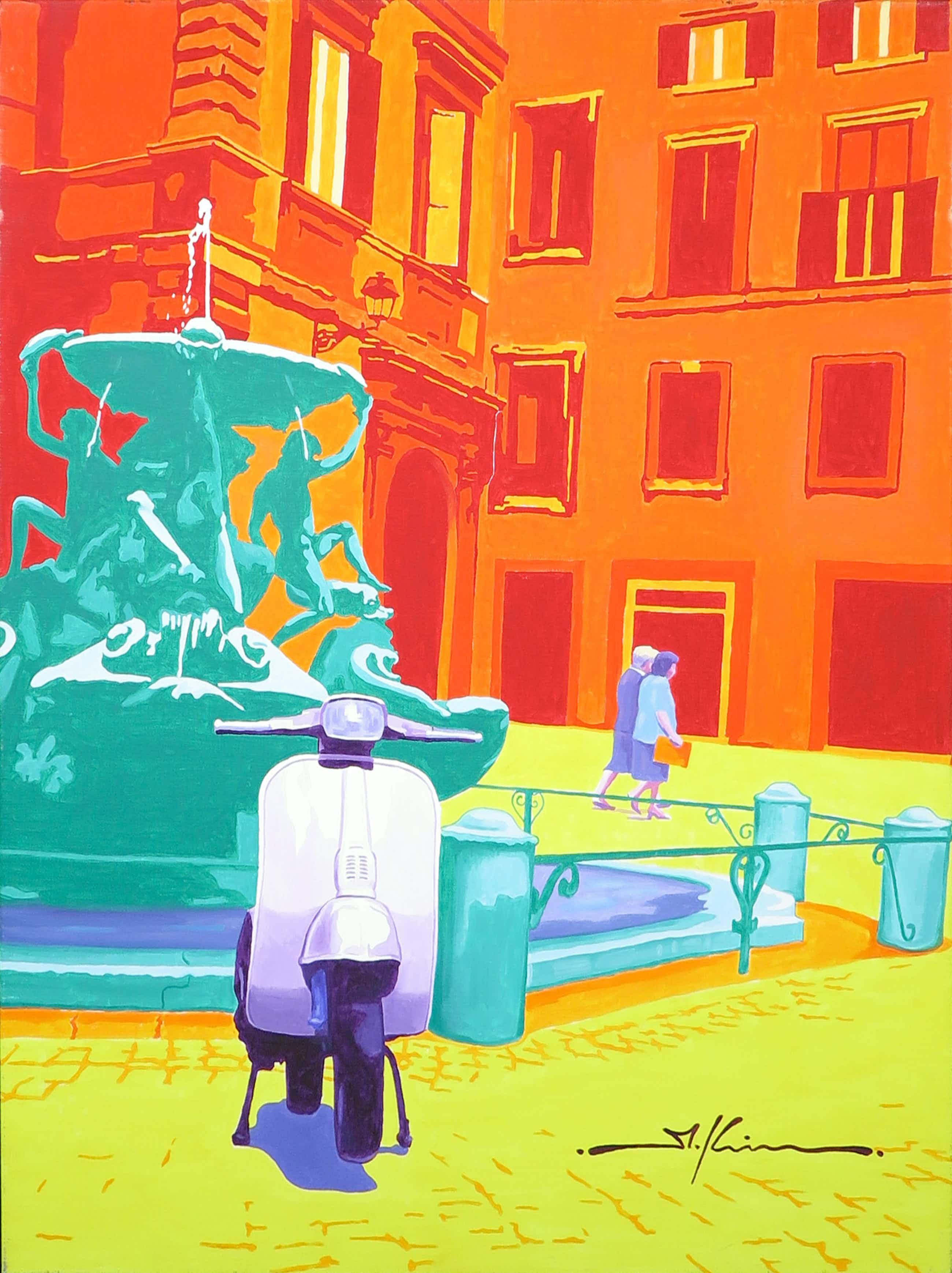 Marco Kooiman - Olieverf op Doek, Piazza Mattei(Groot) kopen? Bied vanaf 200!