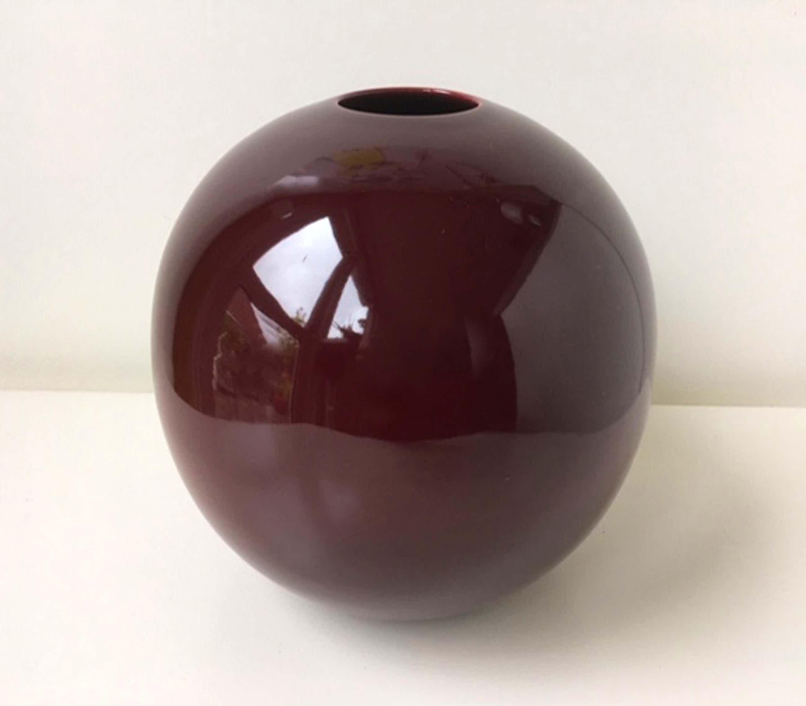 Keramiekfabriek Velsen - Bordeaux keramiek bolvaas kopen? Bied vanaf 30!