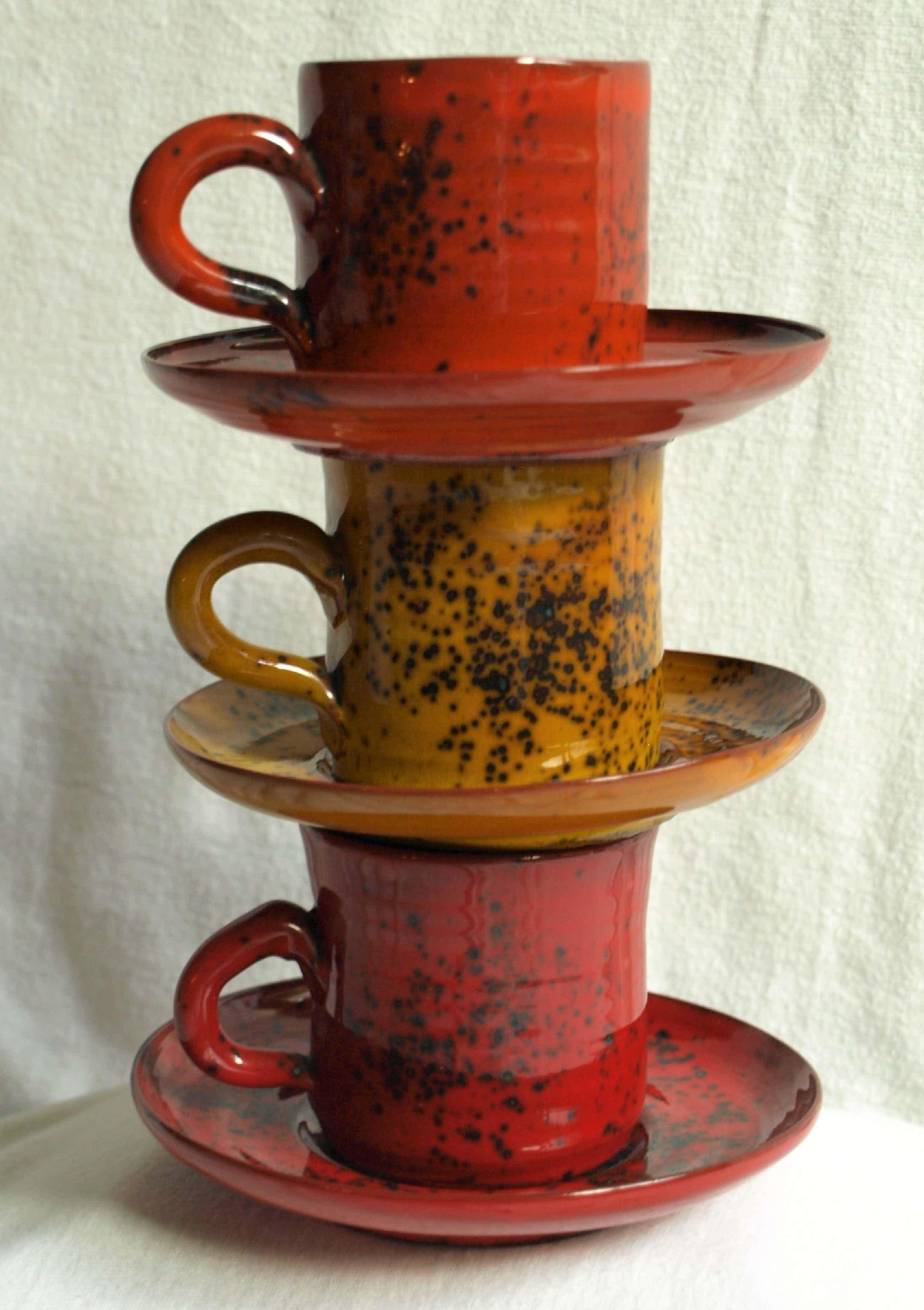 Freek Berends - 3x Espresso / Koffie kop en schotels - gesigneerd kopen? Bied vanaf 40!