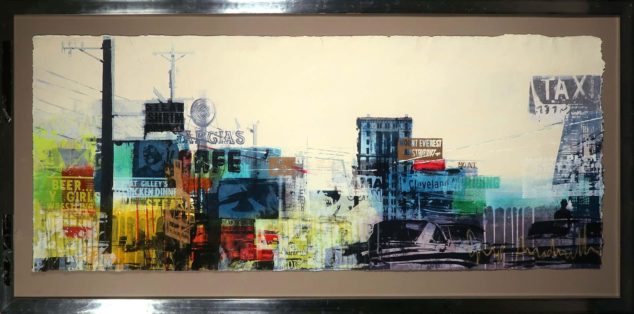 George Heidweiller - Zeefdruk op papier, Cityscape II - Ingelijst (Zeer groot) kopen? Bied vanaf 100!
