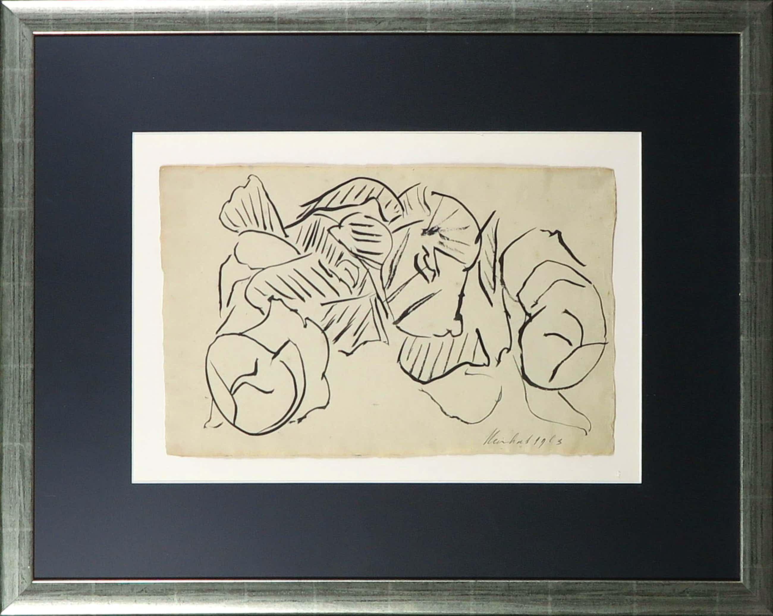 Reinhoud D'Haese - Inkttekening, Abstracte compositie - Ingelijst kopen? Bied vanaf 73!