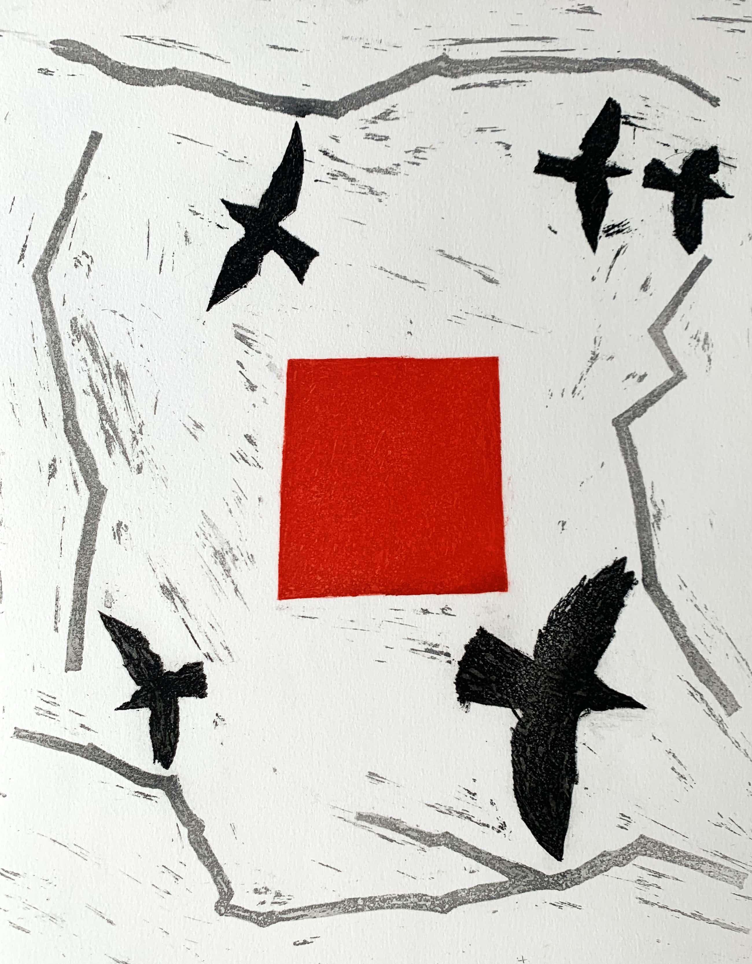 Harrie Gerritz - kleurenets - 'Vogels en alarm' - 1985 kopen? Bied vanaf 75!