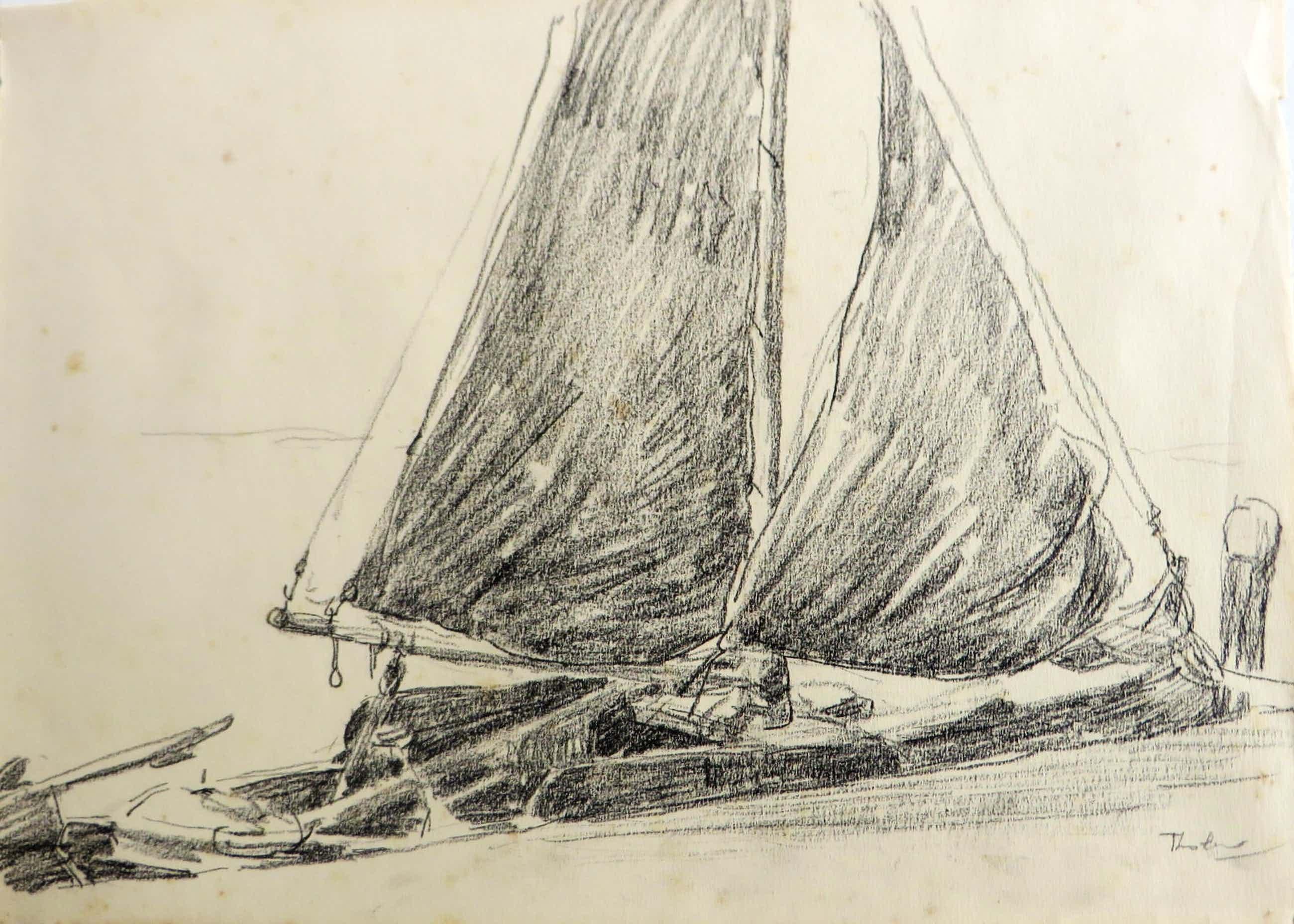 Willem Bastiaan Tholen - Twee maritieme tekeningen uit het schetsbooek van W.B.Tholen kopen? Bied vanaf 125!