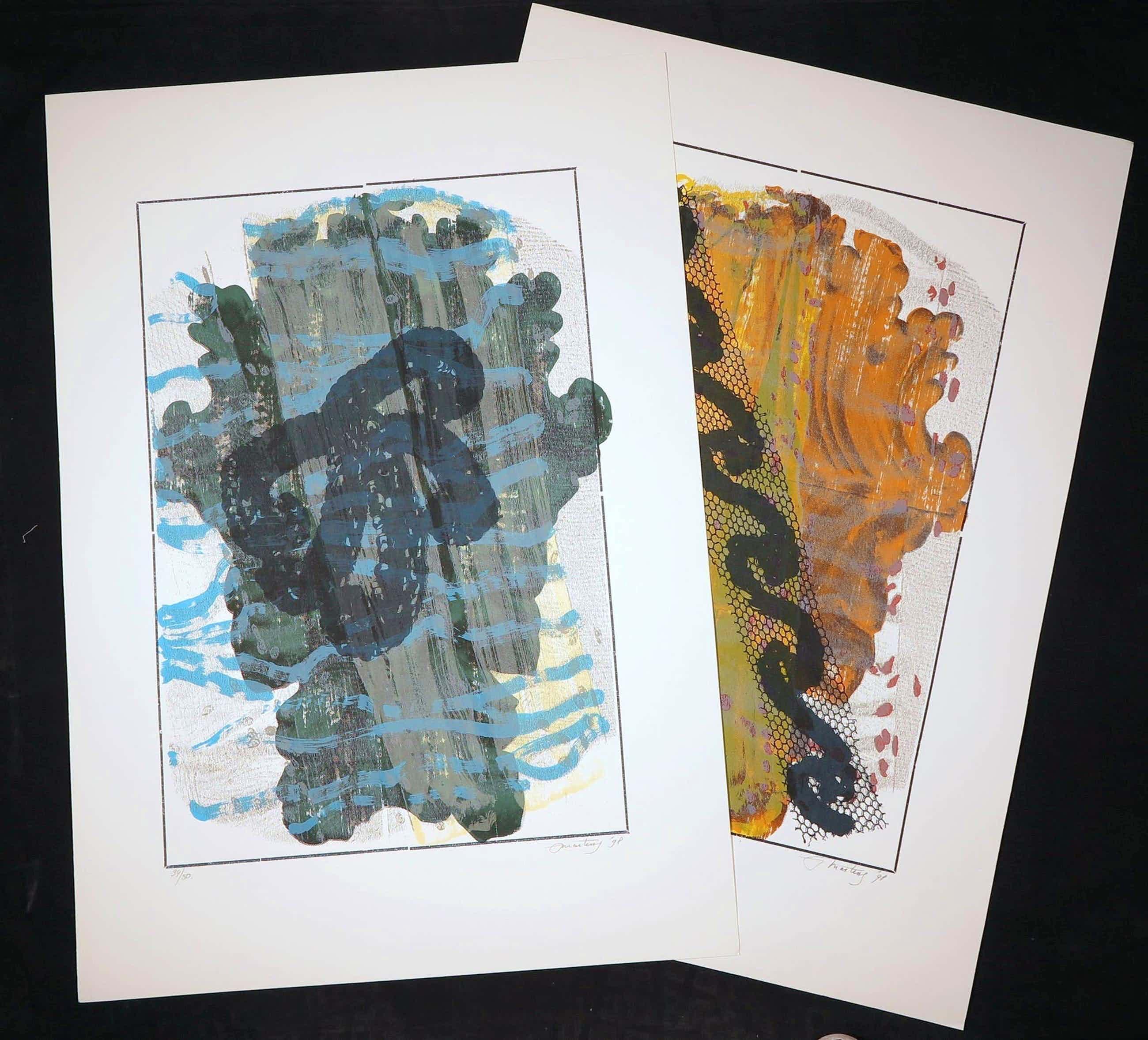 Jan Martens - Lot van twee zeefdrukken, Atmospheric Phenomena I en II (Groot) kopen? Bied vanaf 1!