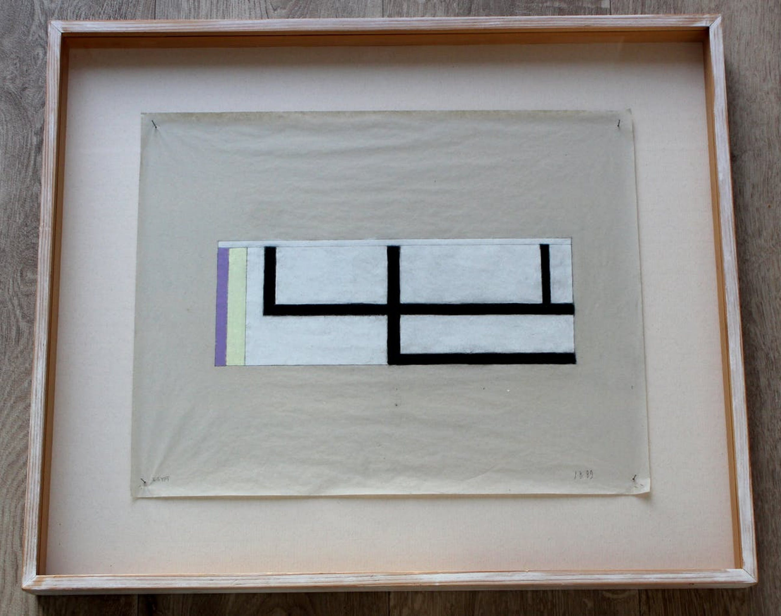 Jac Bisschops - ingelijste krijttekening op papier: geometrische compositie - 1989 kopen? Bied vanaf 195!