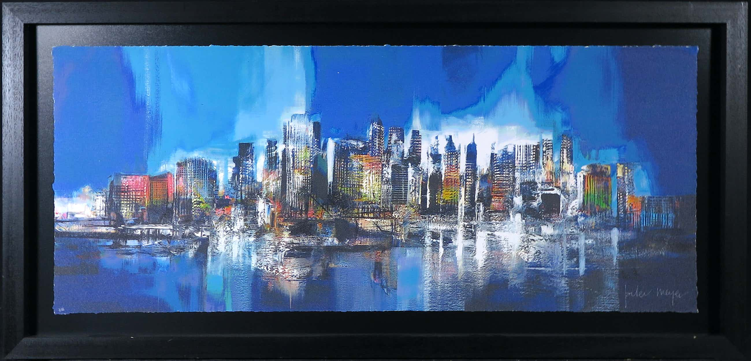 Peter Meijer - Zeefdruk, Manhattan skyline bleu - Ingelijst (Groot) kopen? Bied vanaf 180!