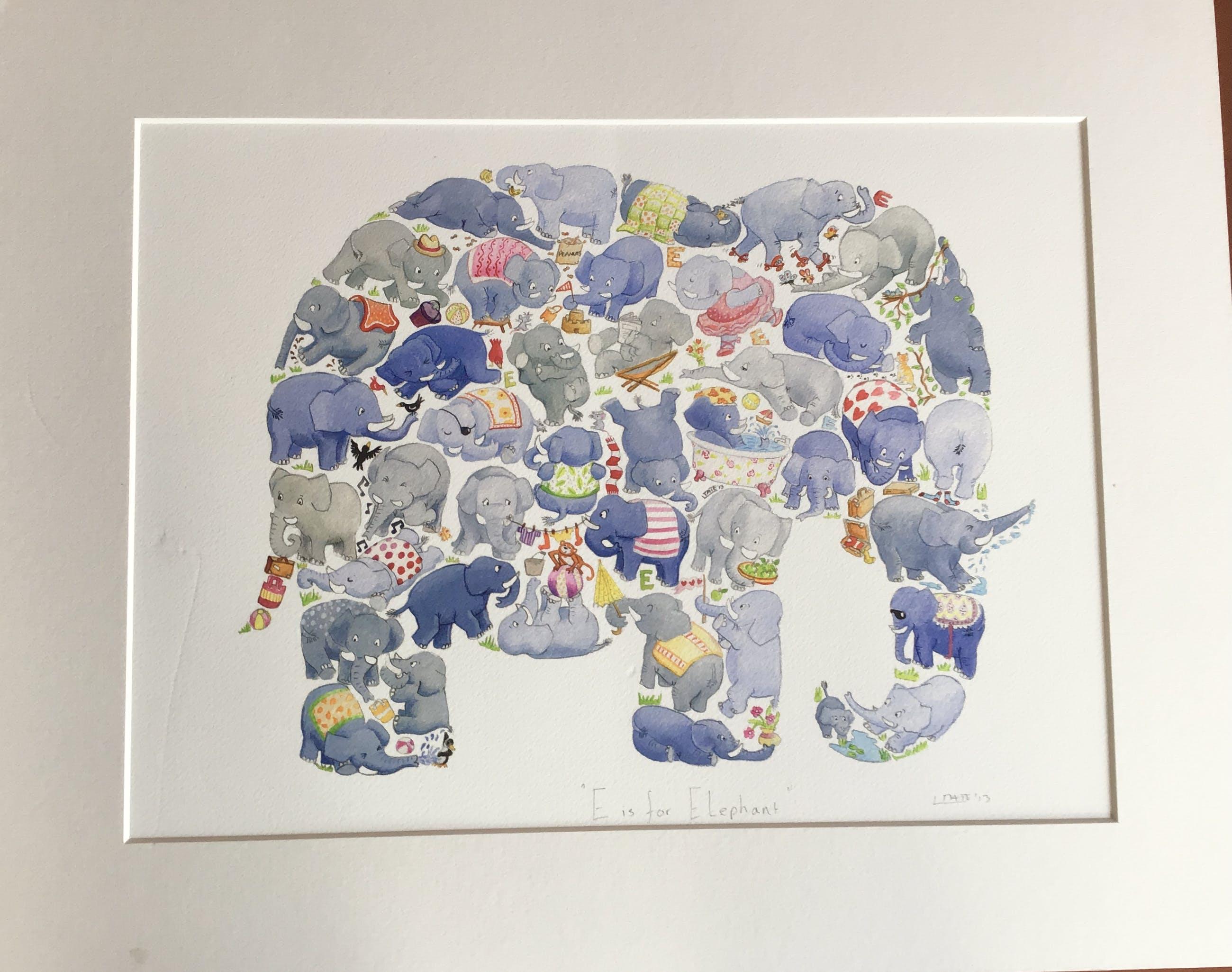 Louise Tate, zeefdruk E is for Elephant, gesigneerd kopen? Bied vanaf 1!