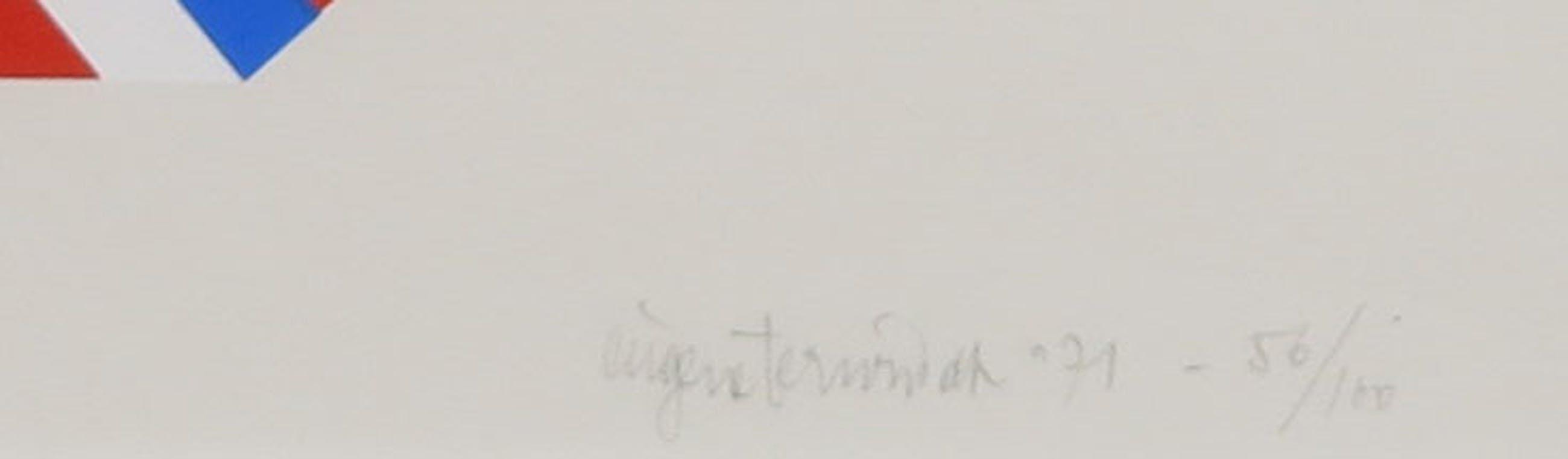 Eugene Terwindt - Zeefdruk, Geometrische compositie - Ingelijst kopen? Bied vanaf 35!