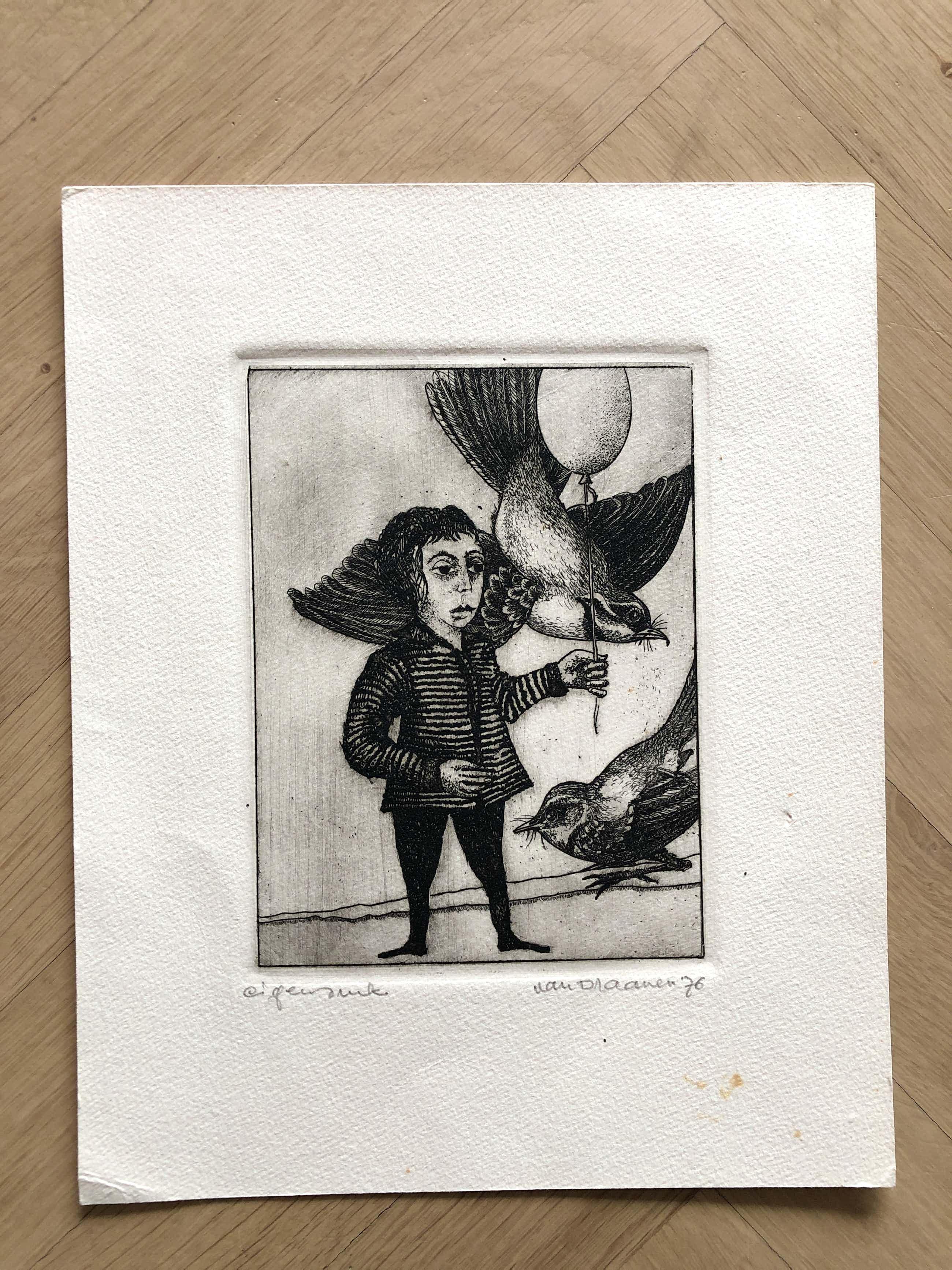 Hans van Draanen - Hans van Draanen: Figuur met vogel -ets 1976- kopen? Bied vanaf 35!