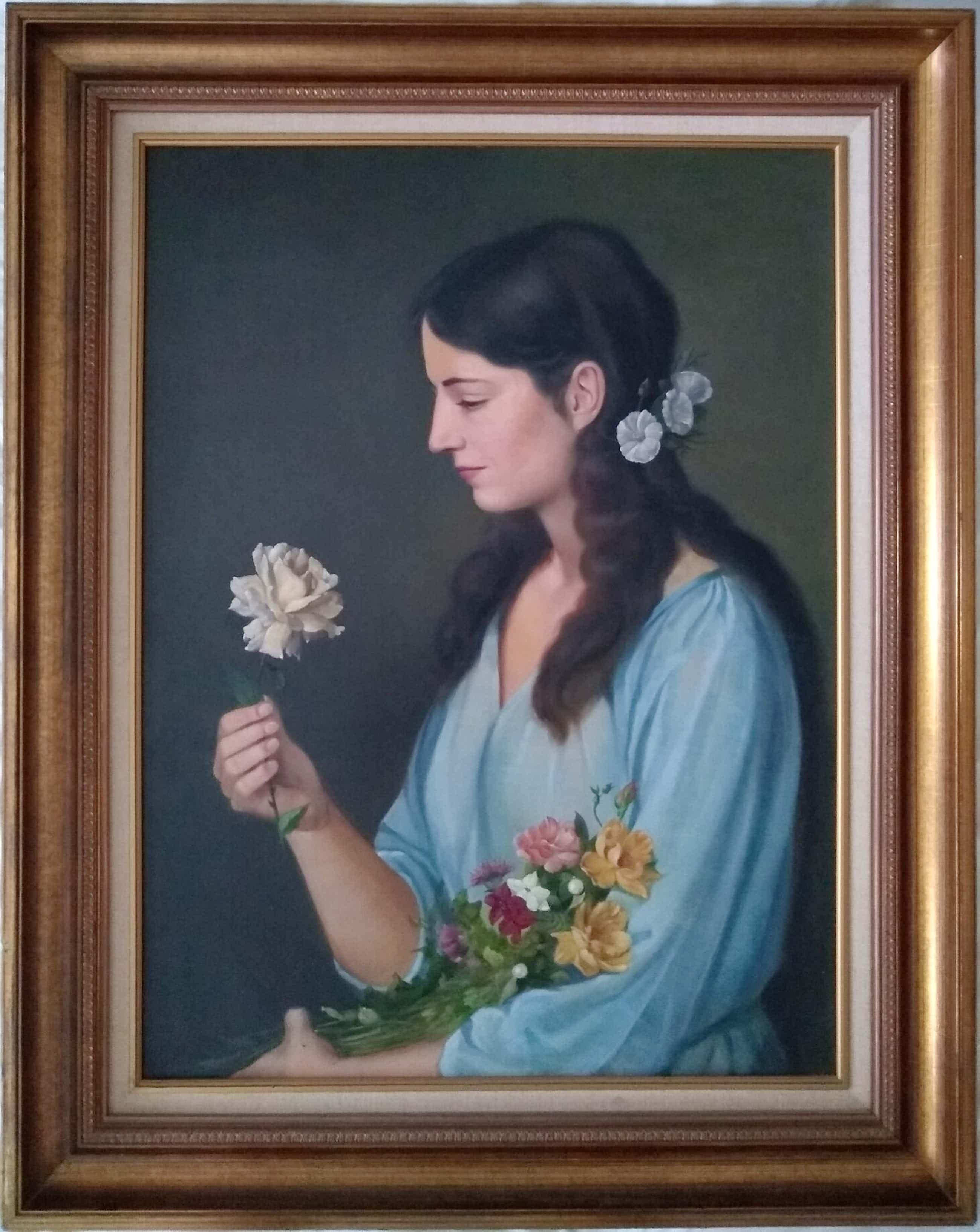 Hendrik jr. De Laat - Dame met bloem en boek over de kunstenaar kopen? Bied vanaf 950!