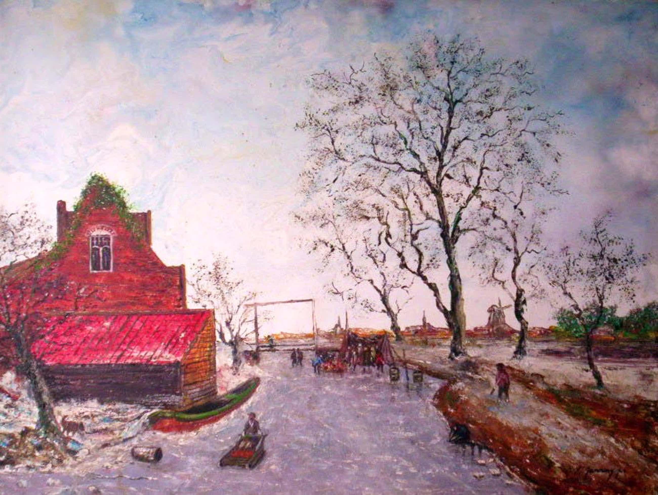 Hein Janning - Hein Janning.1914-1980.Winter met koek en zopie. kopen? Bied vanaf 150!