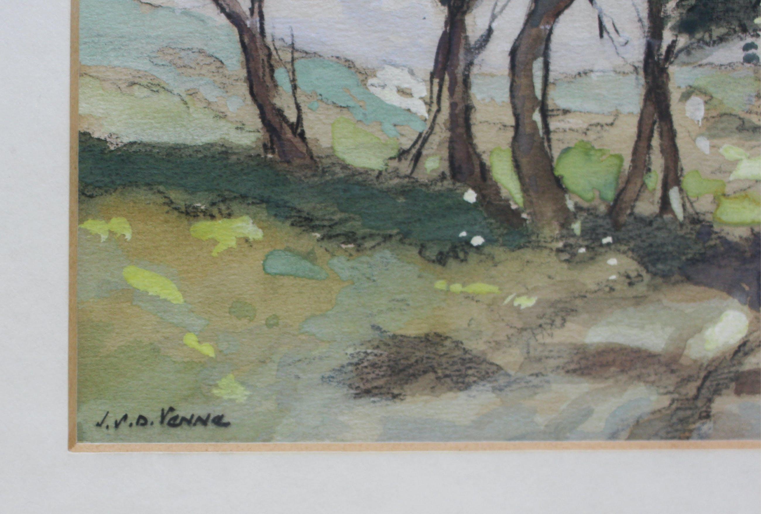 Jan Simon Knikker (jr.) - aquarel gesigneerd J. v.d. Venne (ps. voor Jan Knikker jr.) kopen? Bied vanaf 60!