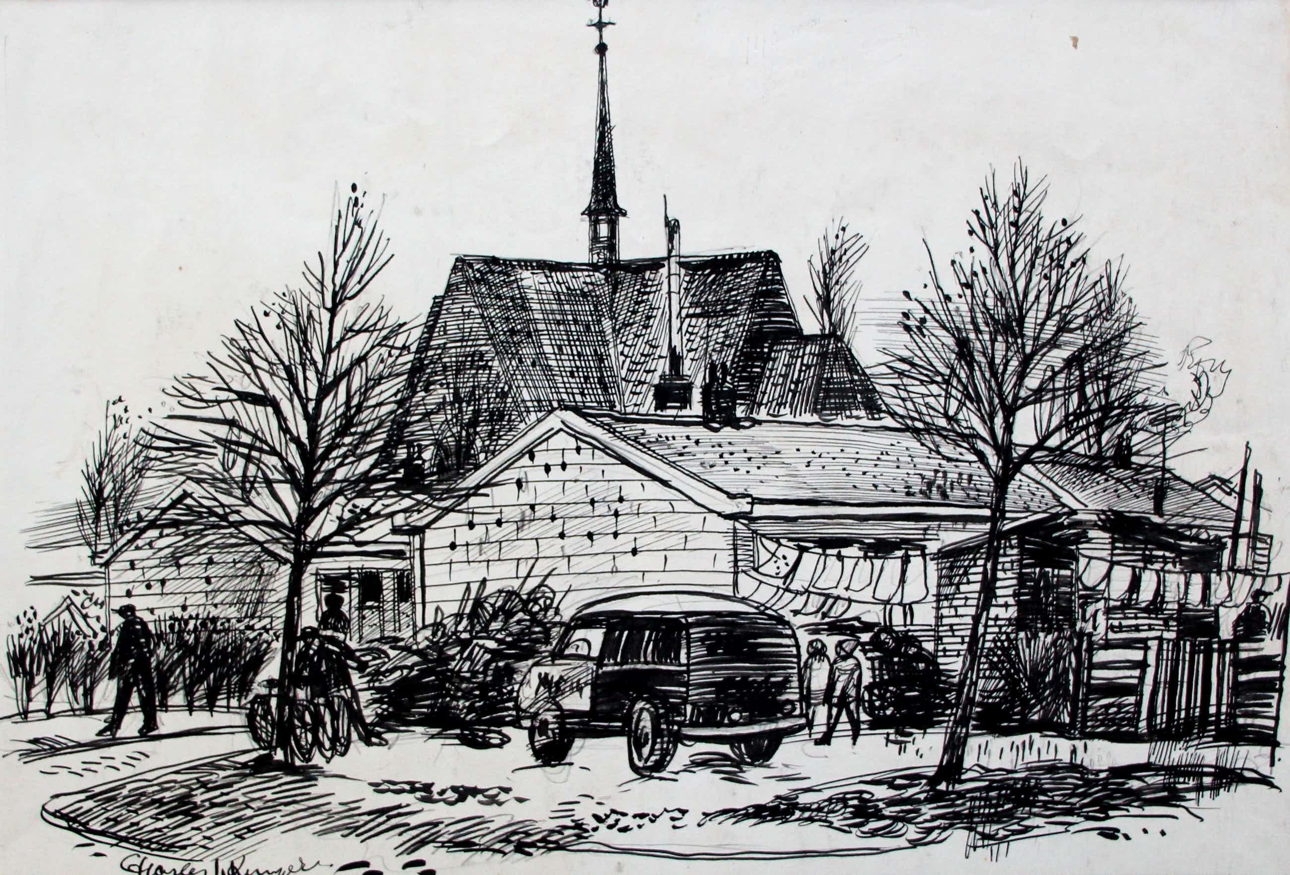 Charles J. Kemper - Pen tekening: Brabants dorp kopen? Bied vanaf 59!