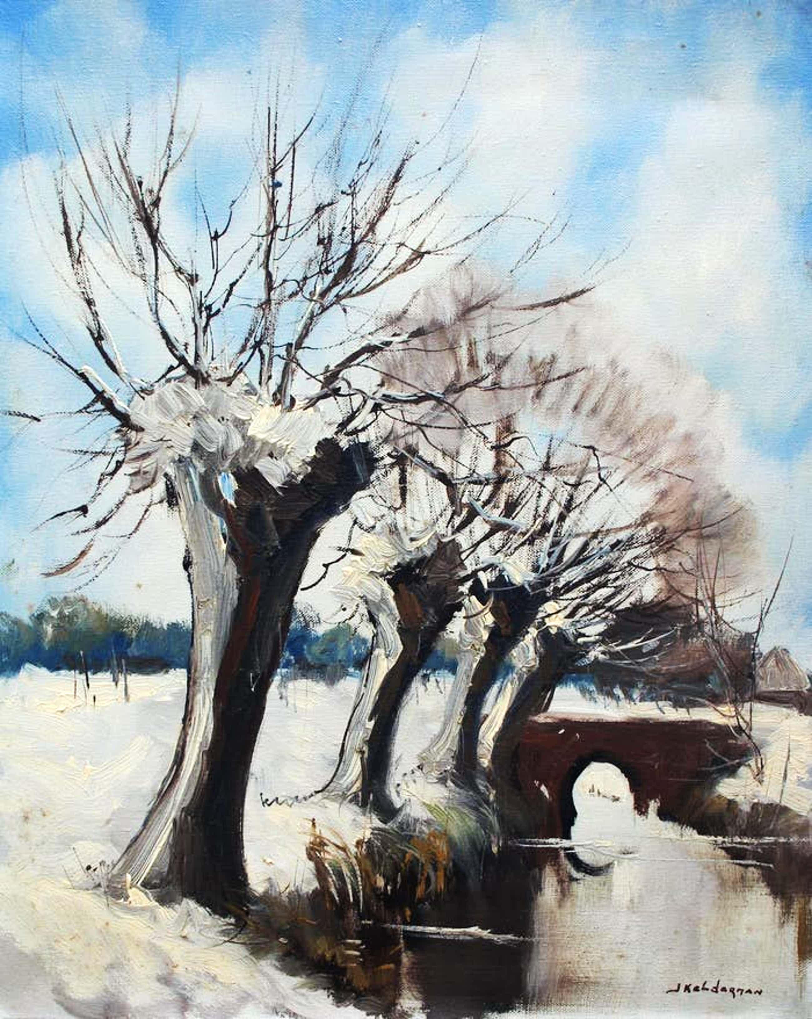 Jan Kelderman - olieverf op doek: Wilgebomen in de winter kopen? Bied vanaf 55!