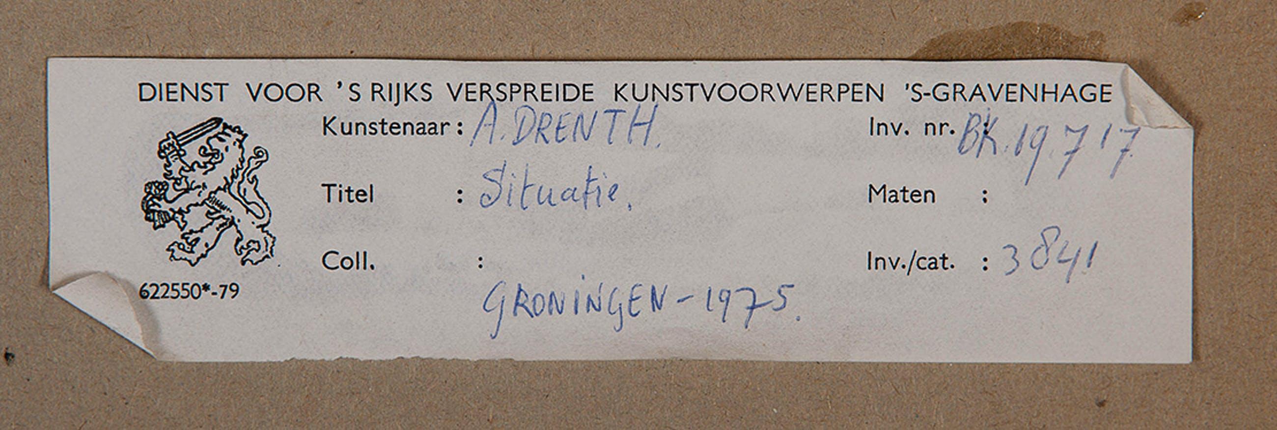 André Drenth - Situatie - 1974 - gouache op papier - BKR Groningen kopen? Bied vanaf 20!