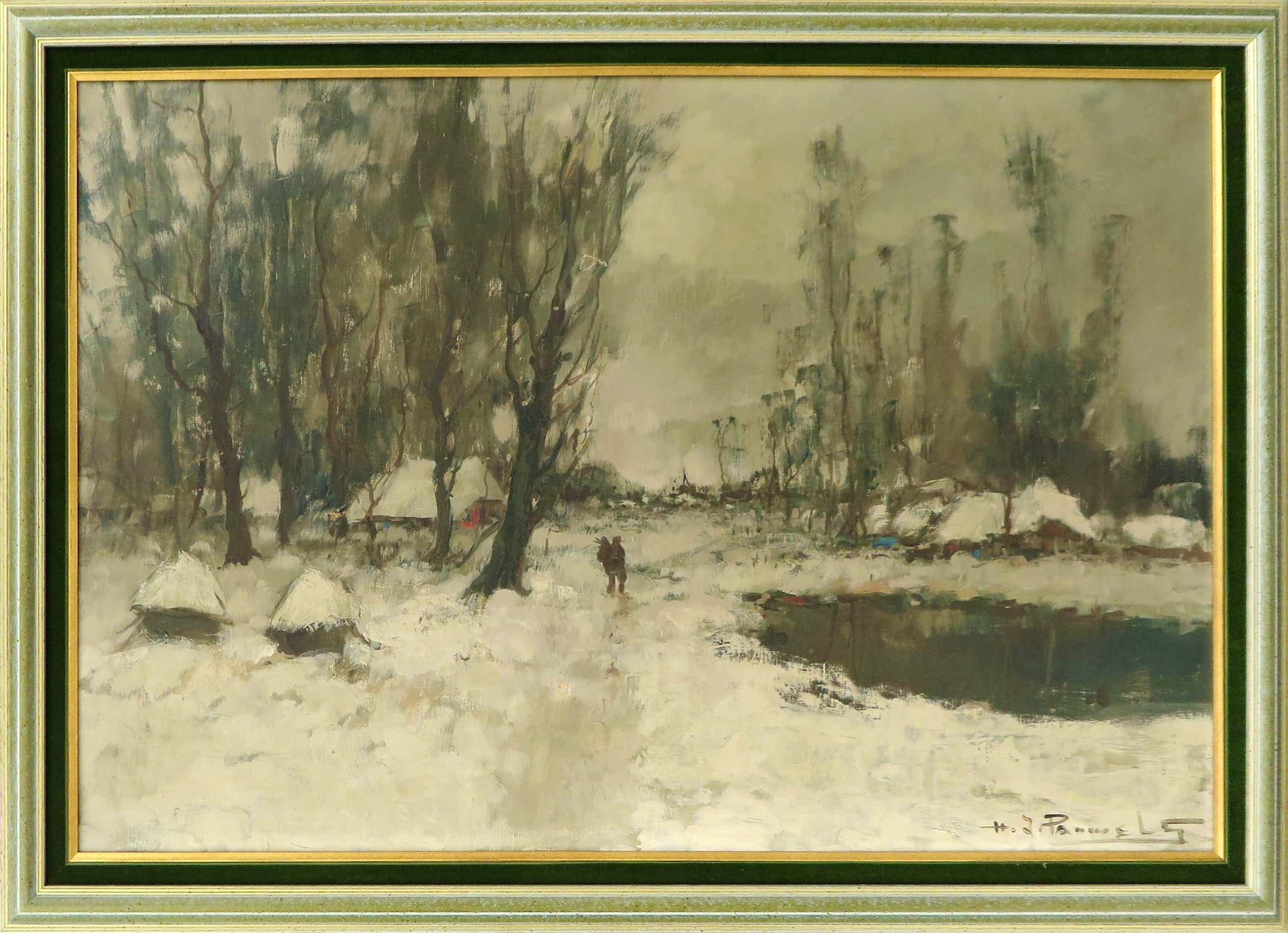 Henri Joseph Pauwels - Olieverf op doek, Sneeuwlandschap kopen? Bied vanaf 110!