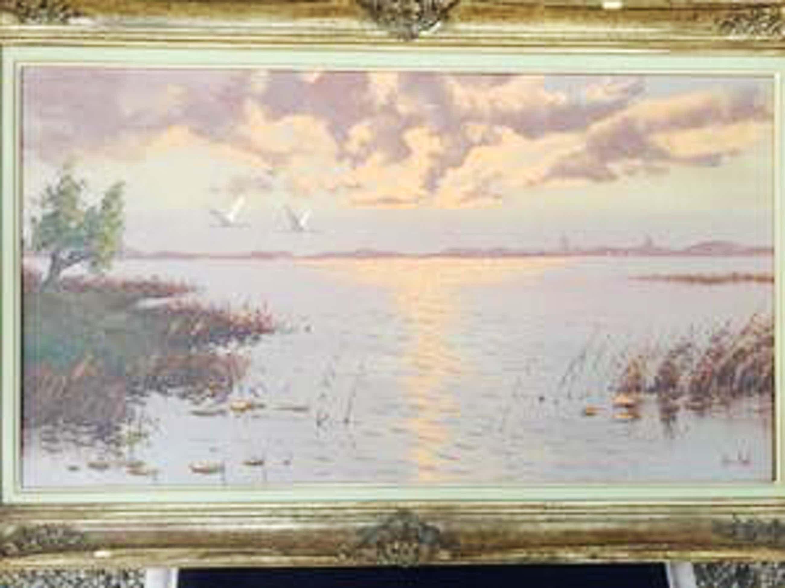 Jos van Dijk - Biesbosch met ondergaande zon. kopen? Bied vanaf 149!