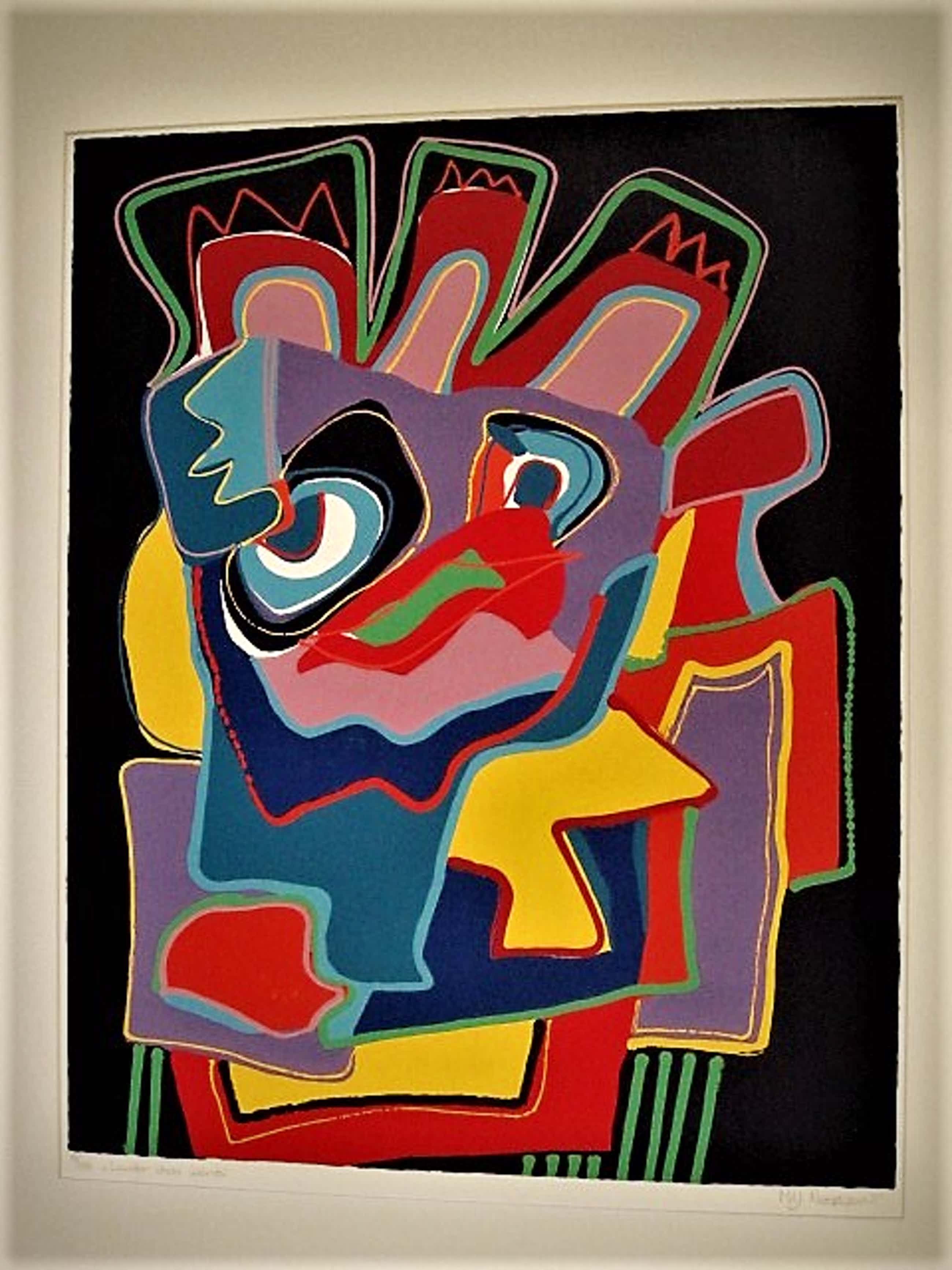 "Marianne Naerebout - Grote expressionistische Zeefdruk "" Louder than words "" oplage 150 ex. kopen? Bied vanaf 40!"